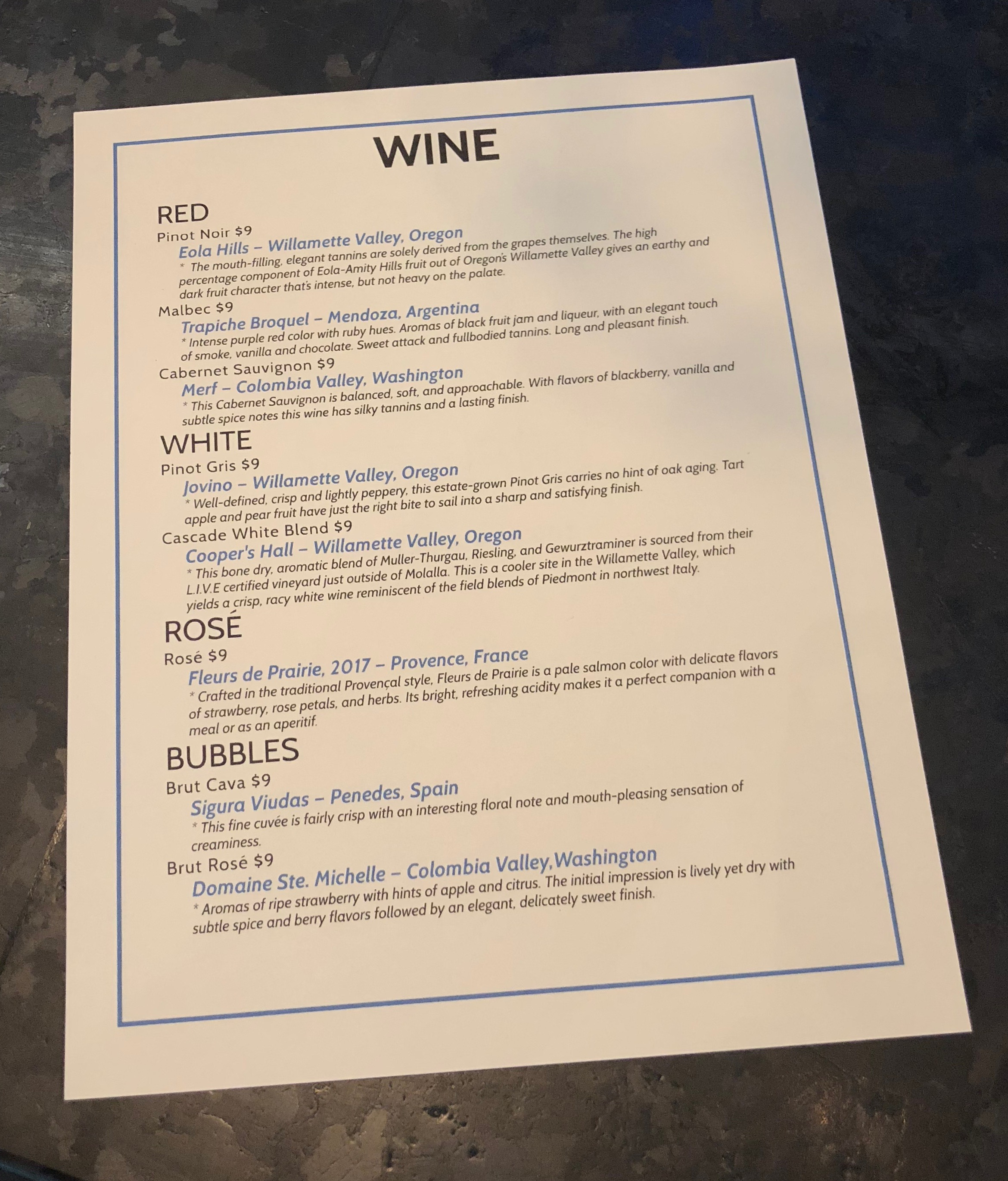 The Wine Menu at Von Ebert Brewing - East.