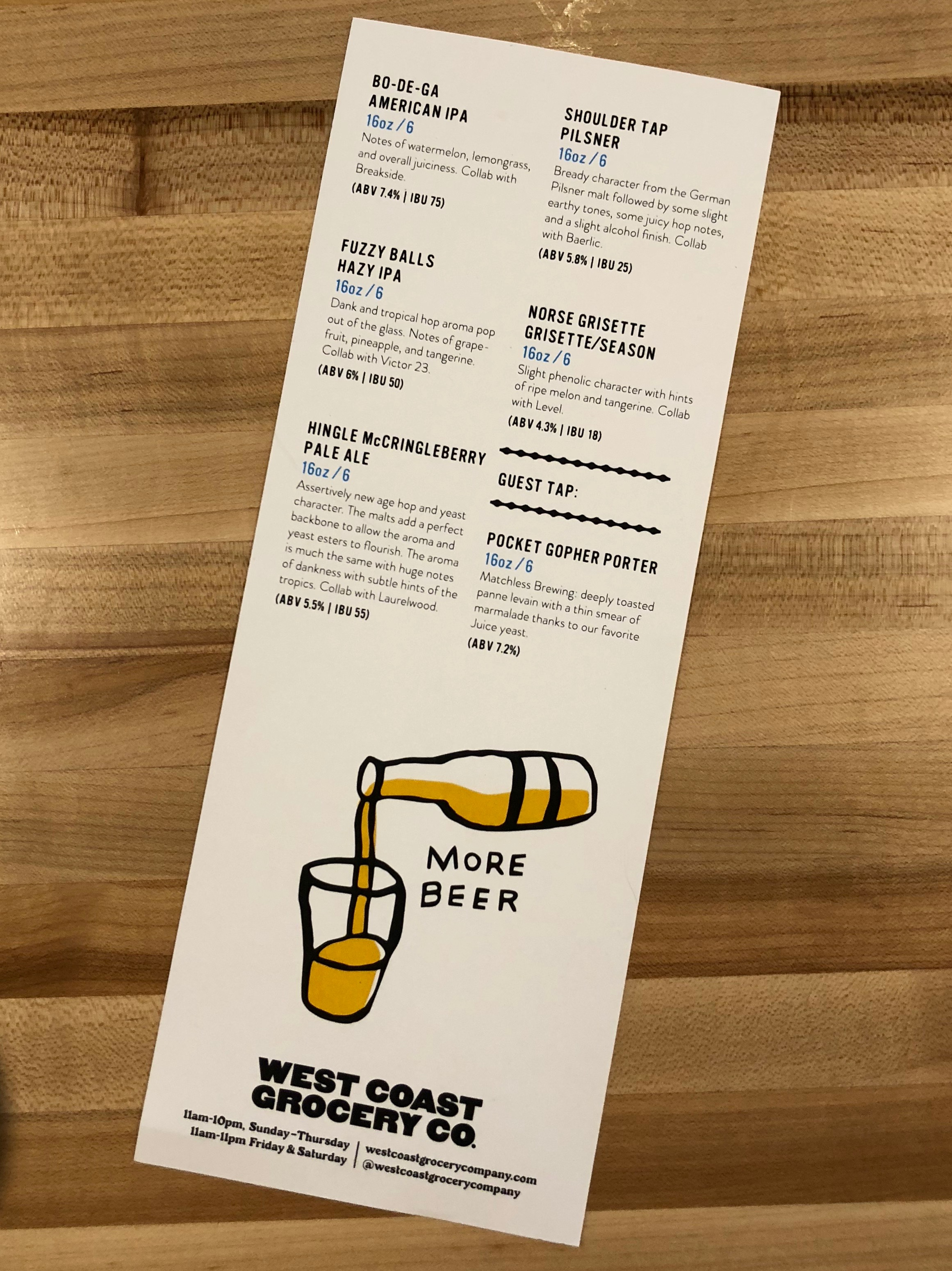 West Coast Grocery Co. opening Beer Menu.