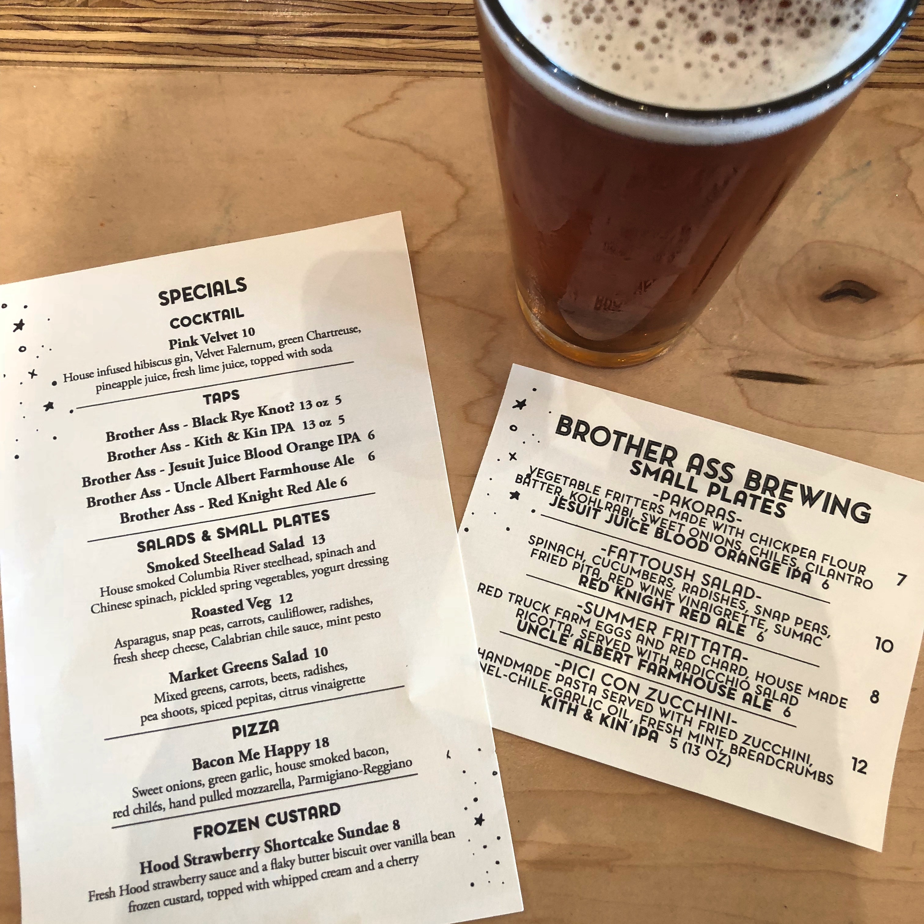 A beer and menu from a recent tap takeover event with Brother Ass Brewing.
