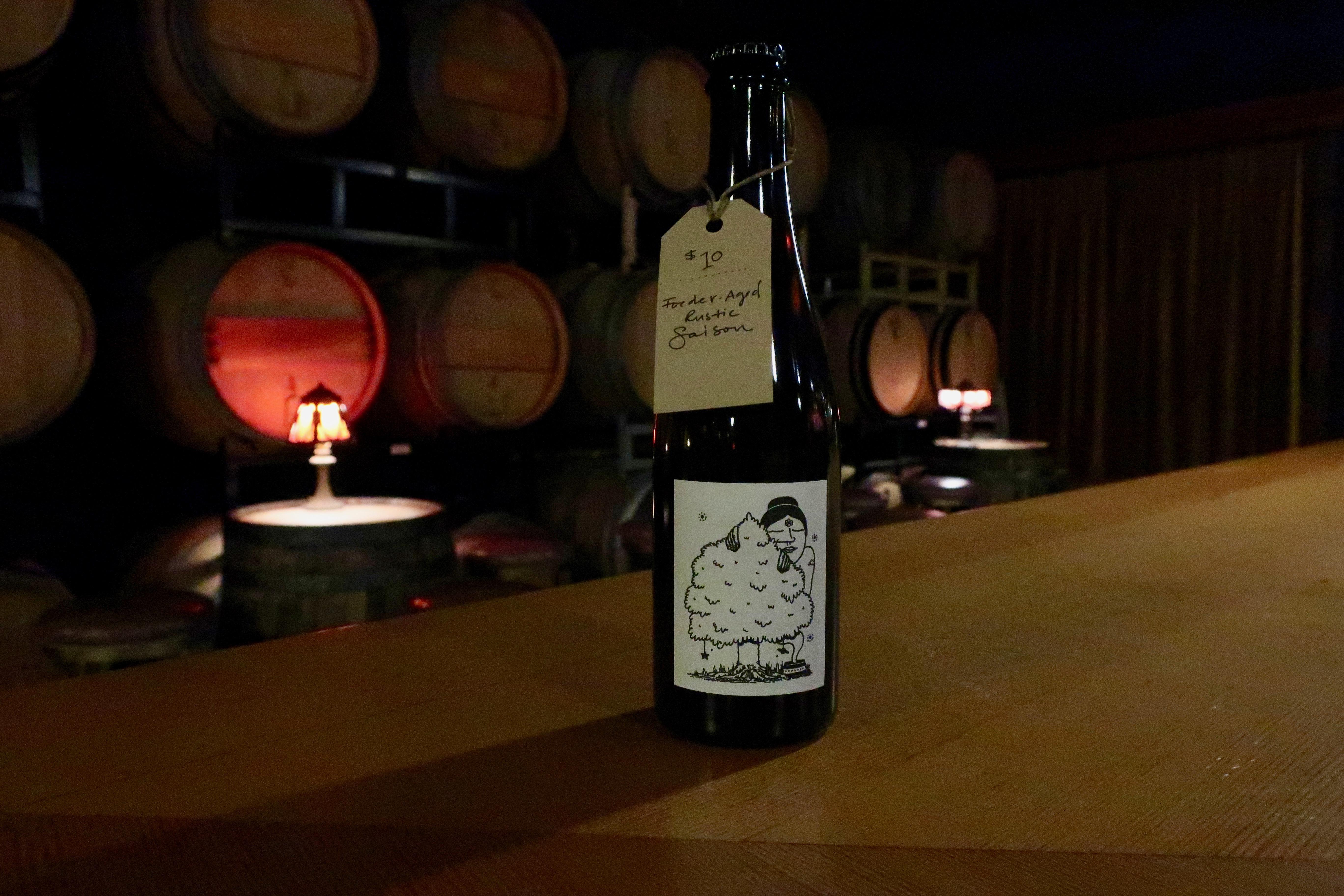 A bottle of Aslan Brewing's Frances Farmer at Aslan Depot: Barrels & Blending.