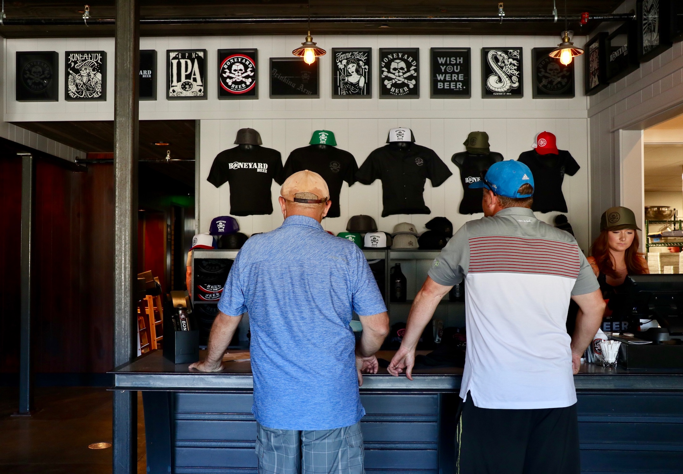 Boneyard merchandise on display at the new Boneyard Pub. (photo by Cat Stelzer)