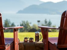 Chairs with a great view of the Columbia River. (image courtesy of Skamania Lodge)