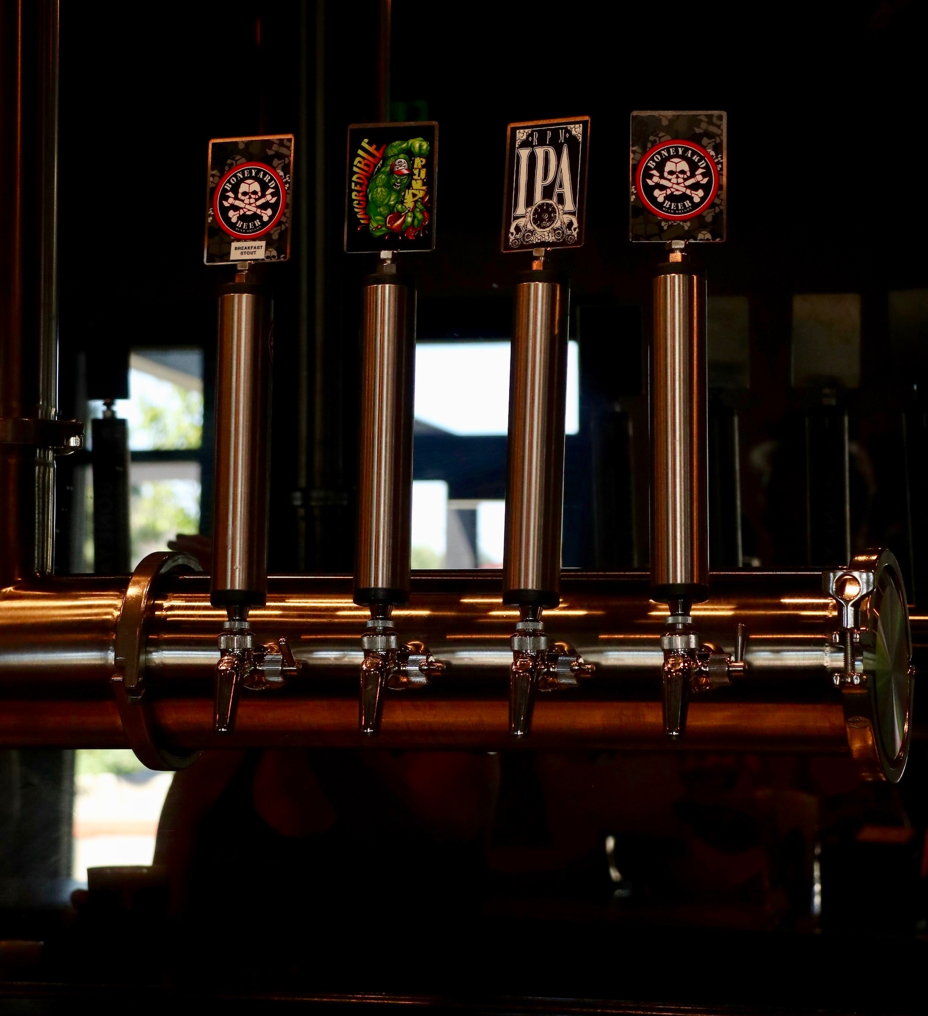 Some of the taps at the new Boneyard Pub in Bend, Oregon. (photo by Cat Stelzer)