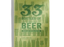 The distinctive cover of the hop-focused pocket beer journal is printed in green ink with green staples binding the pages together. (image courtesy of 33 Books)