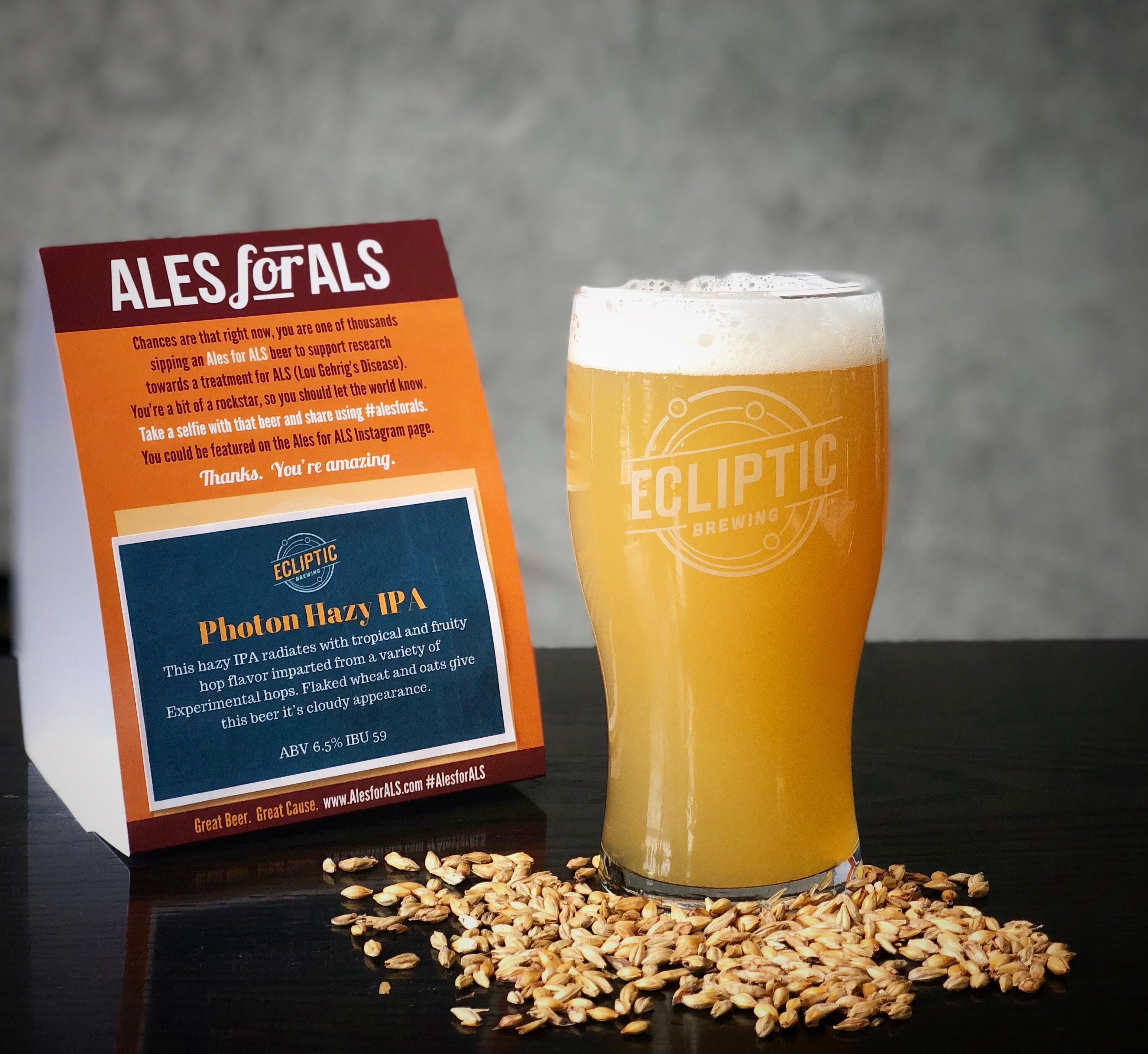 image of Photon Hazy IPA, a beer for Ales for ALS courtesy of Ecliptic Brewing