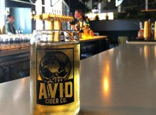 A pint of Avid Cider Co. Apricot Cider at the new Avid Cider Co. Cider House in Portland's Pearl District.