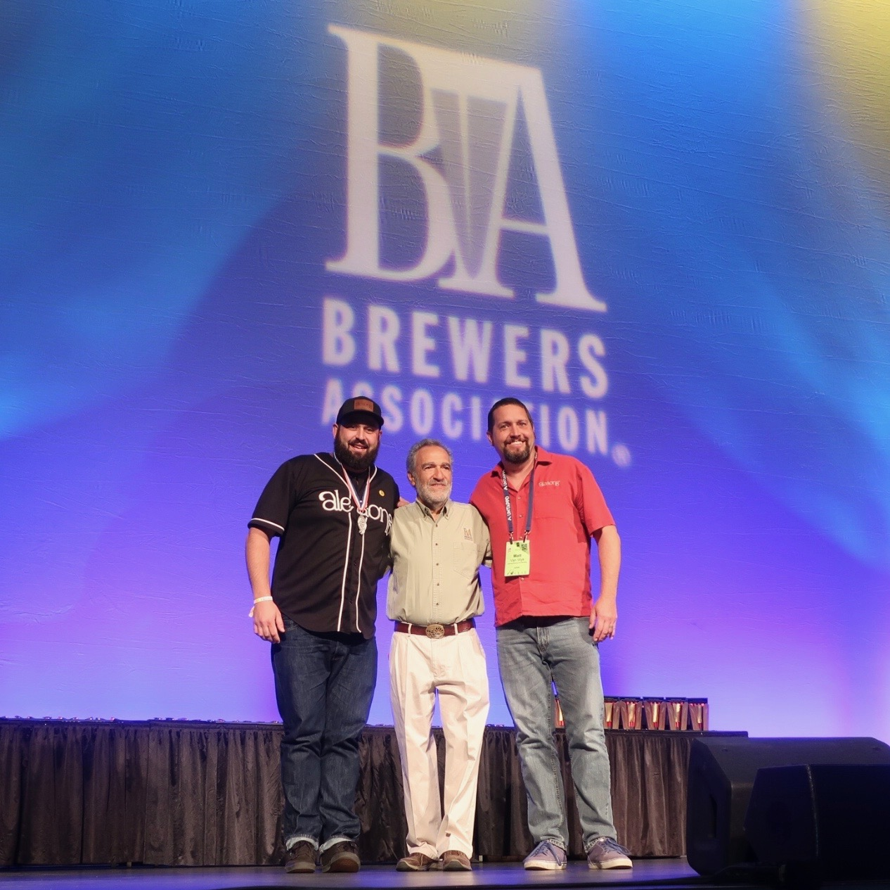 Alesong Brewing & Blending on stage accepting its first GABF Medal at the 2018 Great American Beer Festival.