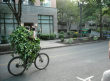 Apex Jesse personified the spirit of Portland during fresh hop season as he rode his hop-vine-bedecked bicycle away from one of Full Sail's late, great fresh hop tours...(FoystonFoto)