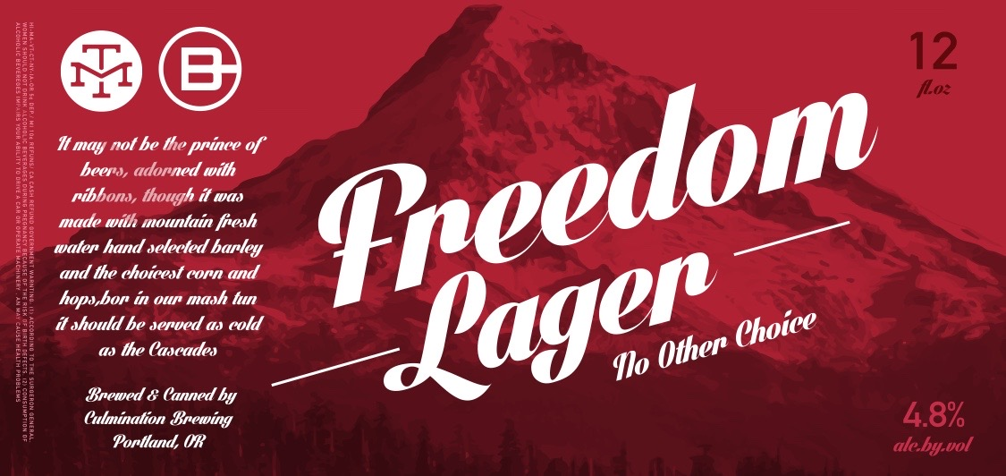 Culmination Brewing & Modern Times Beer Freedom Lager Label