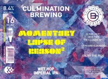 Culmination Brewing Momentary Lapse of Reason Wet Hop Imperial Ale Label - Pink Floyd Collaboration