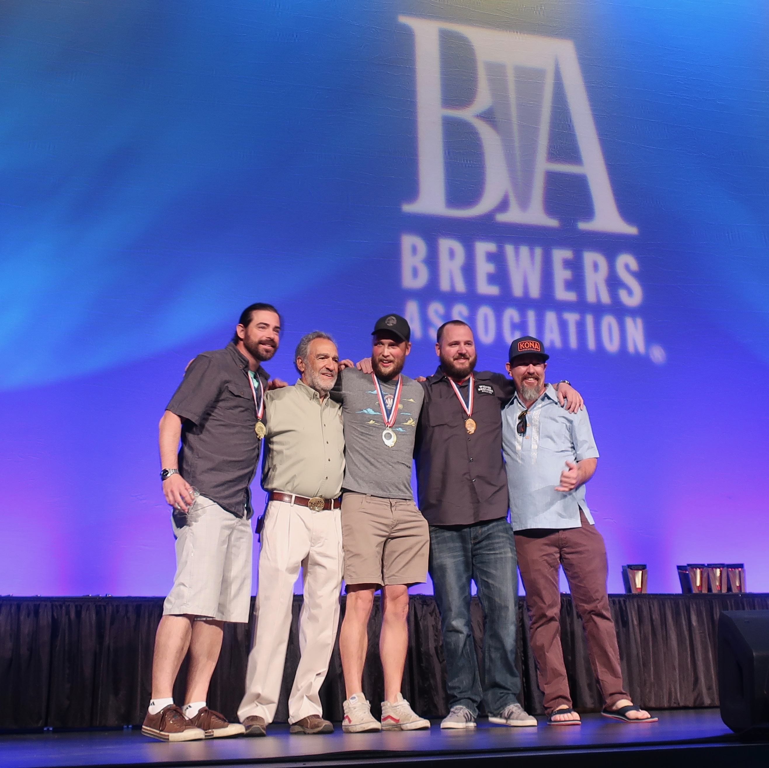 The Craft Brew Alliance team on stage at the 2018 Great American Beer Festival.