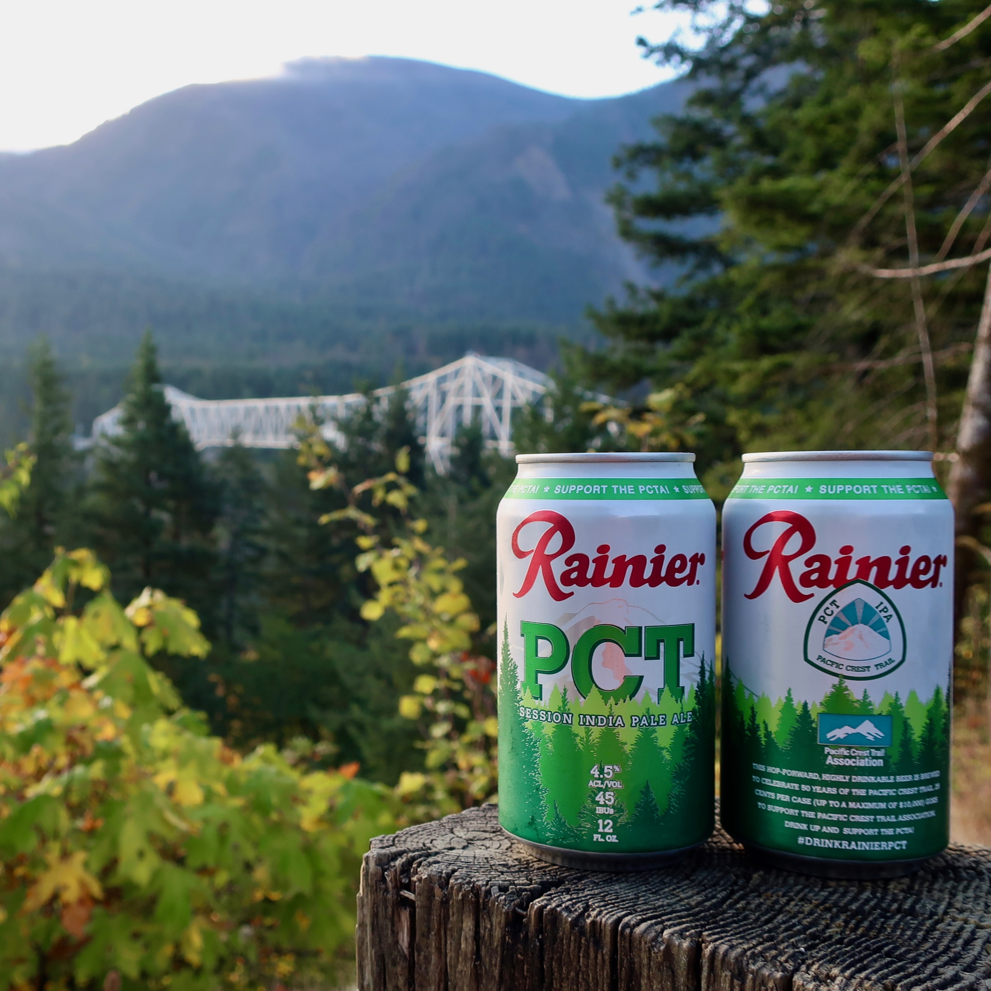 The full can image of the new Rainier PCT Session IPA along the PCT Trail in Washington State.