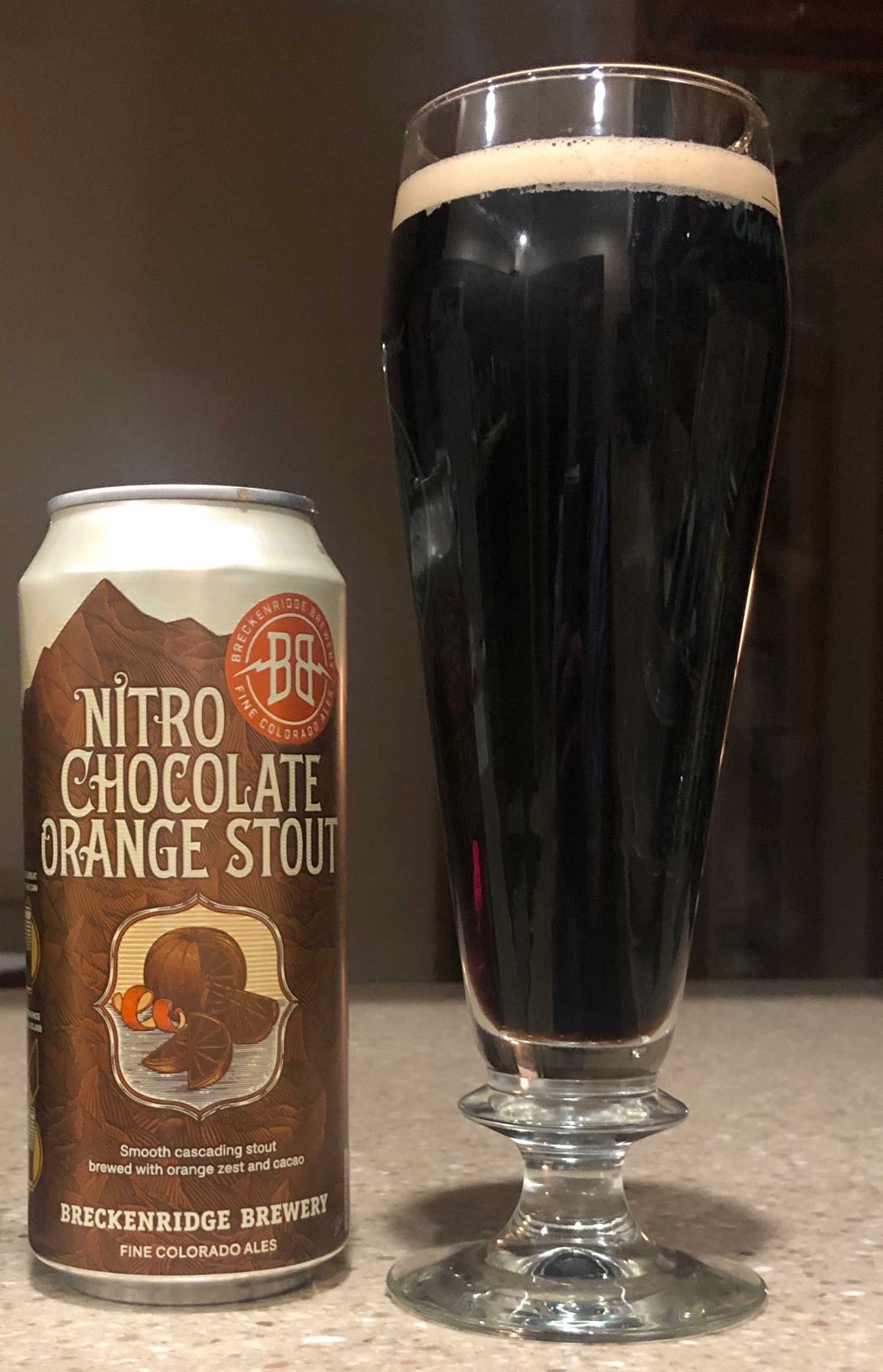 A glass pour of Breckenridge Brewery Nitro Chocolate Orange Stout.
