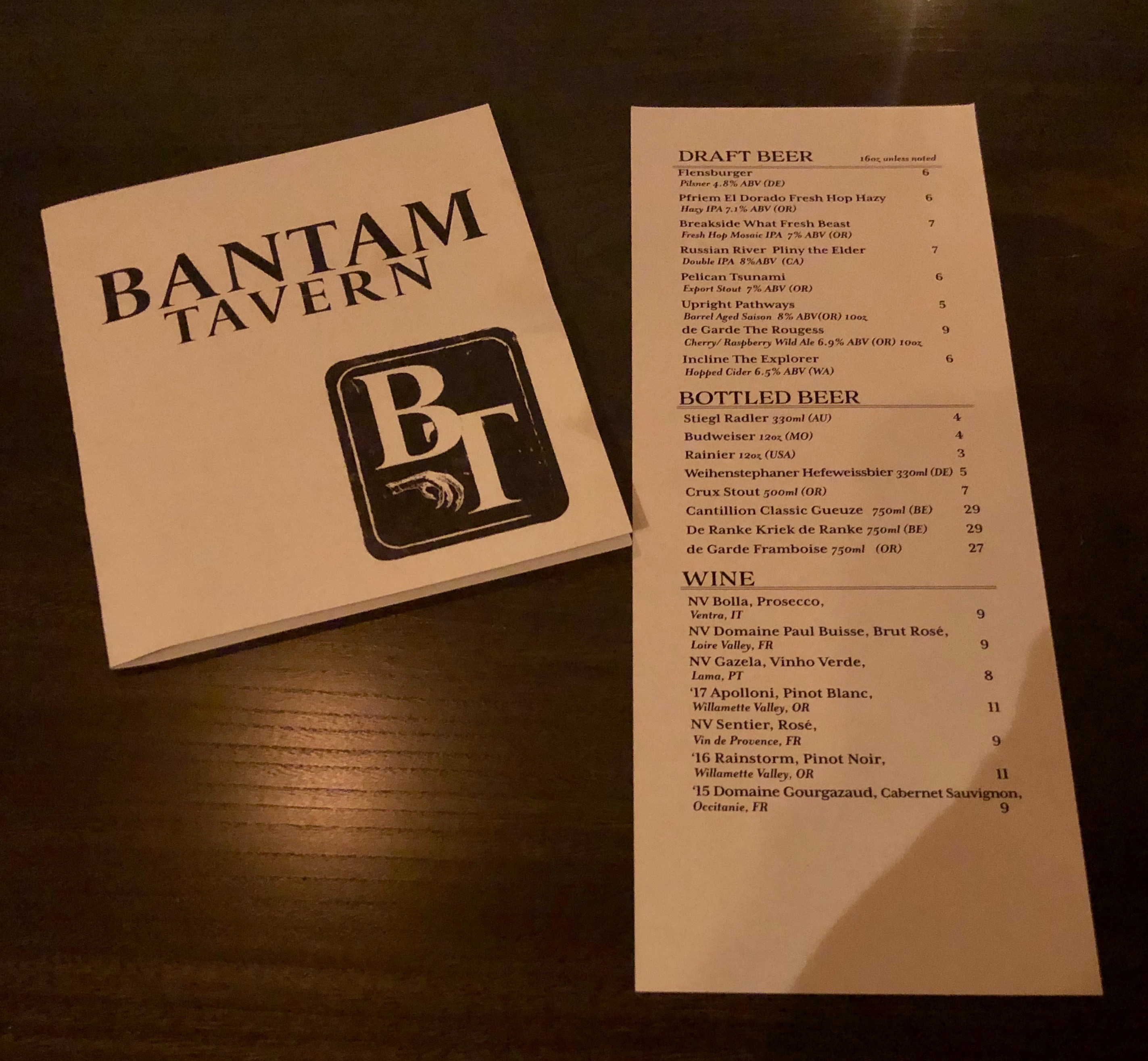 Bantam Tavern beer and wine list.