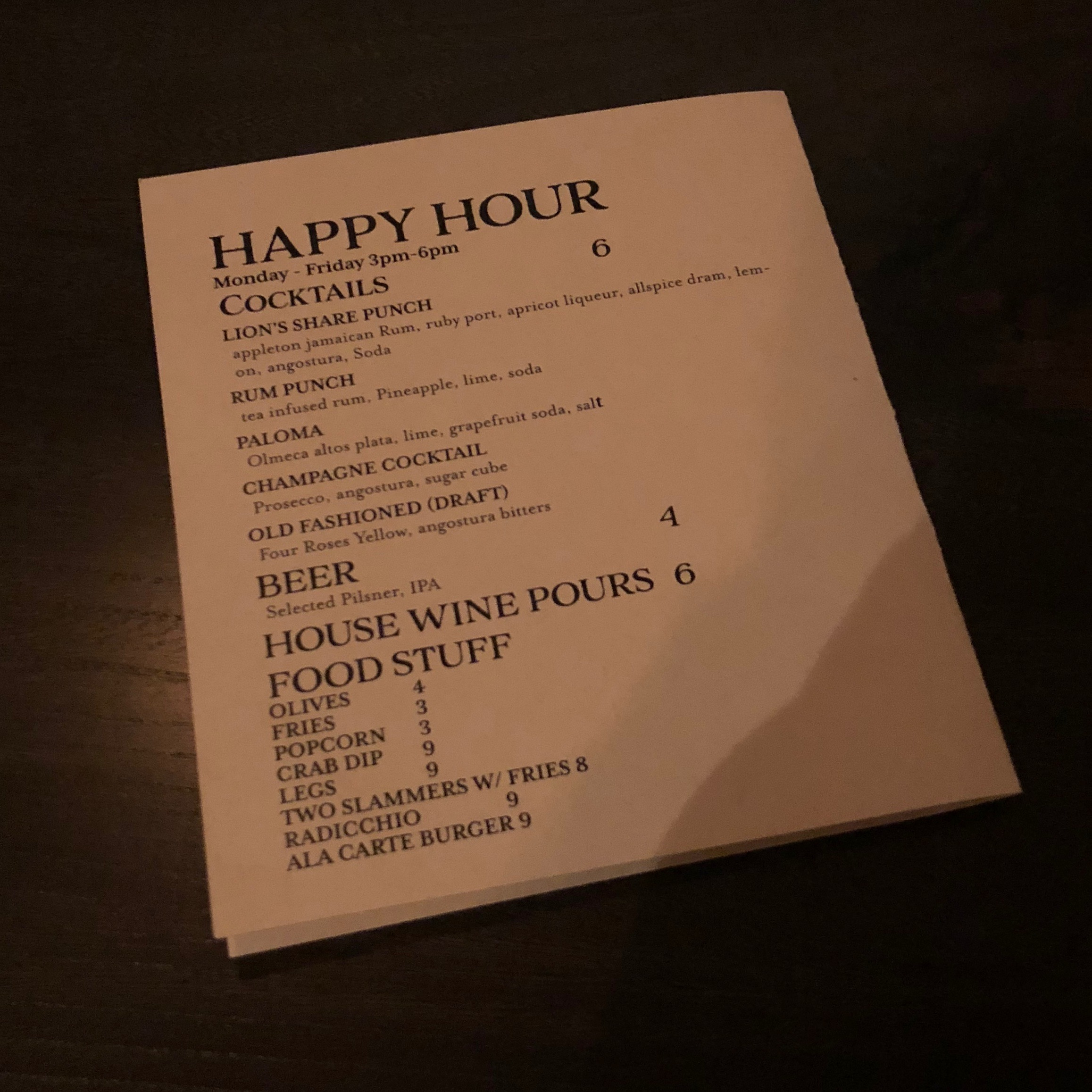 Bantam Tavern happy hour menu.