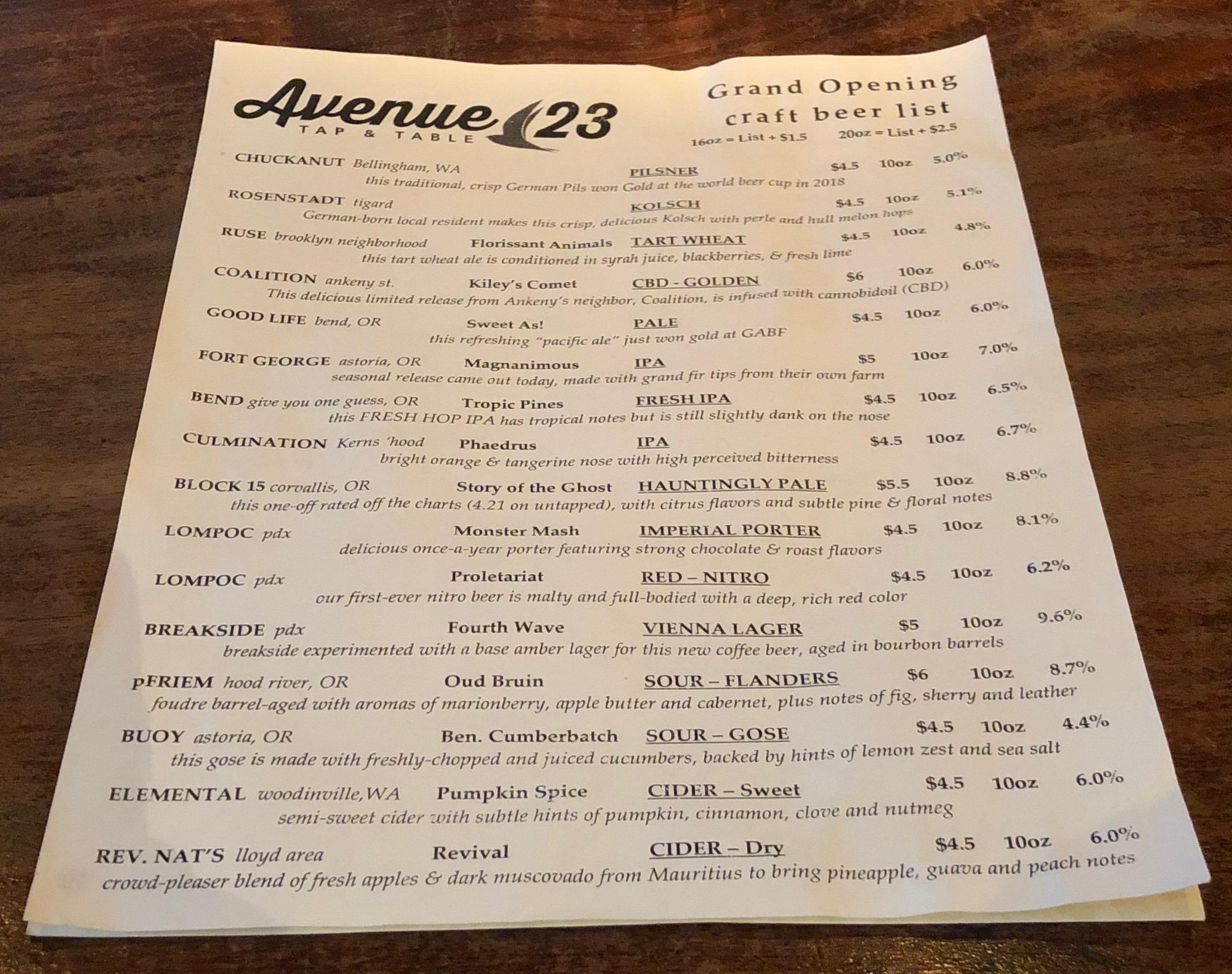 Beer Menu at Avenue 23 Tap & Table.