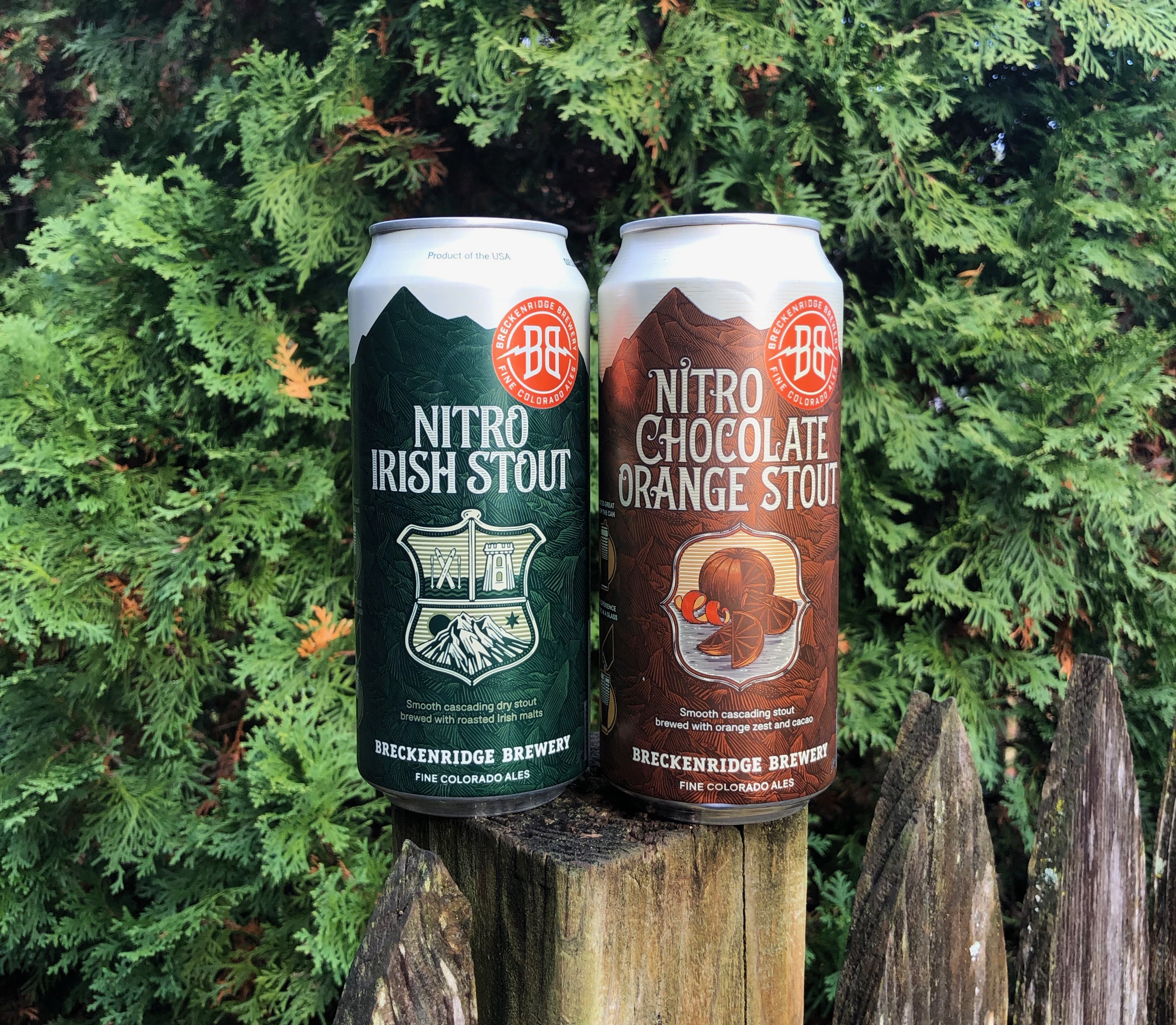 Cans of Breckendridge Brewry Nitro Irish Stout and its new Nitro Chocolate Orange Stout.