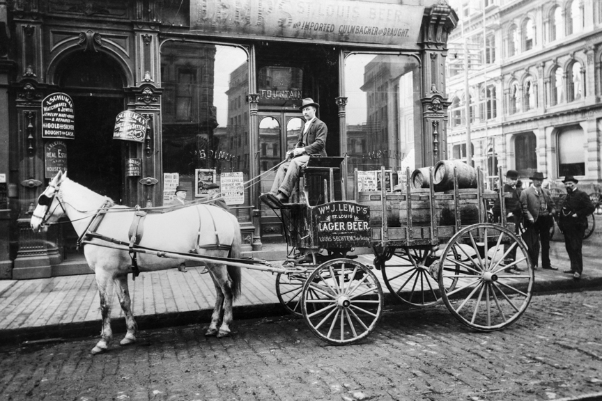 Delivery wagon full of barrels of Lemp's St. Louis Lager Beer stands at corner of 2nd & Washington in Portland, OR, 1892. Oregon Historical Society Research Library, bb017533