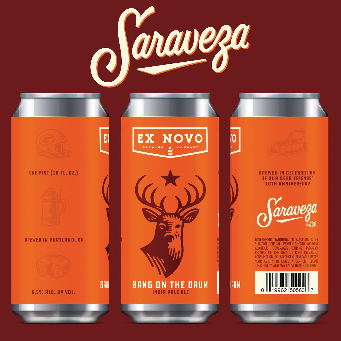 Ex Novo Brewing Bang On The Drum IPA for Saraveza's 10th Anniversary