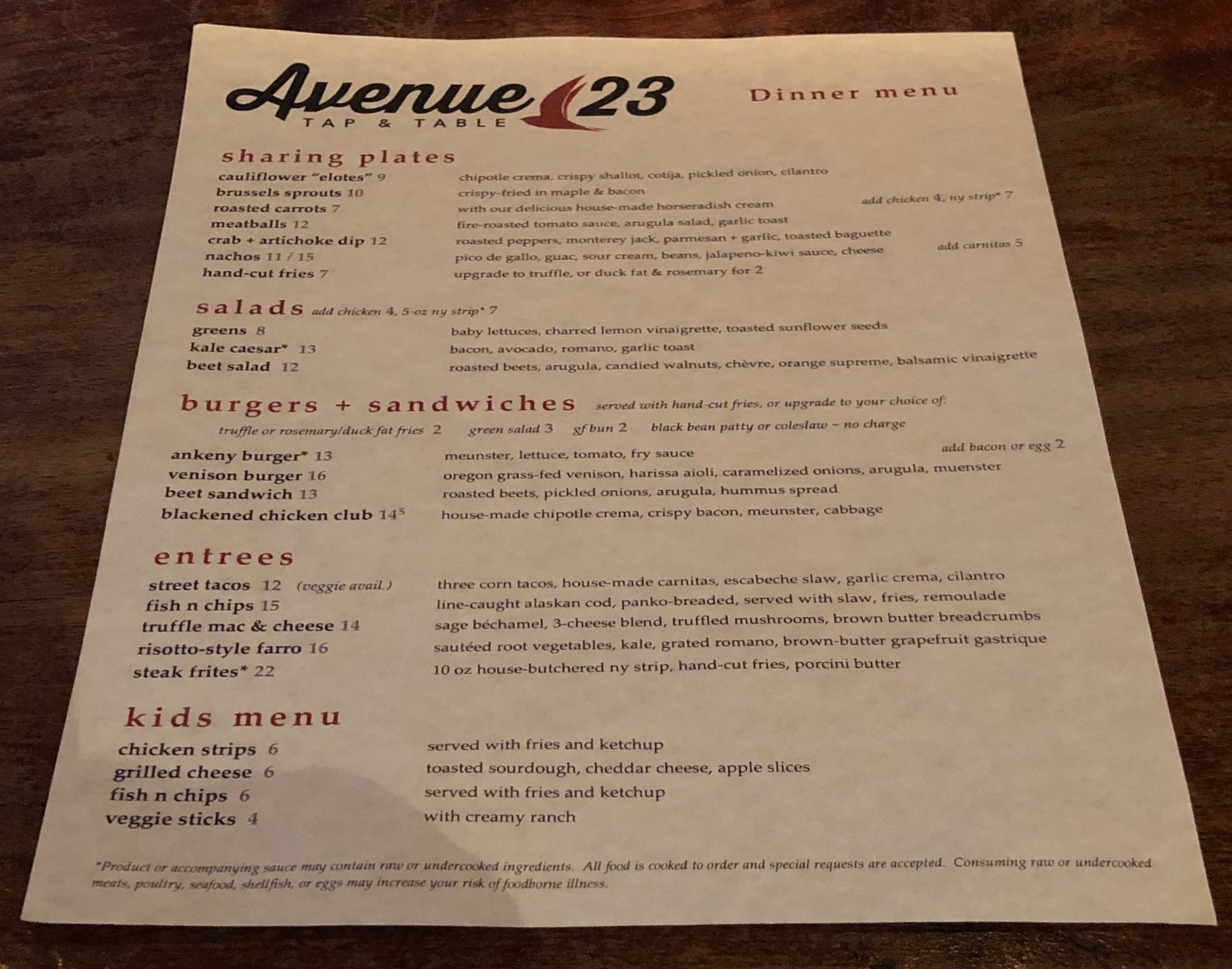 Food Menu at Avenue 23 Tap & Table.