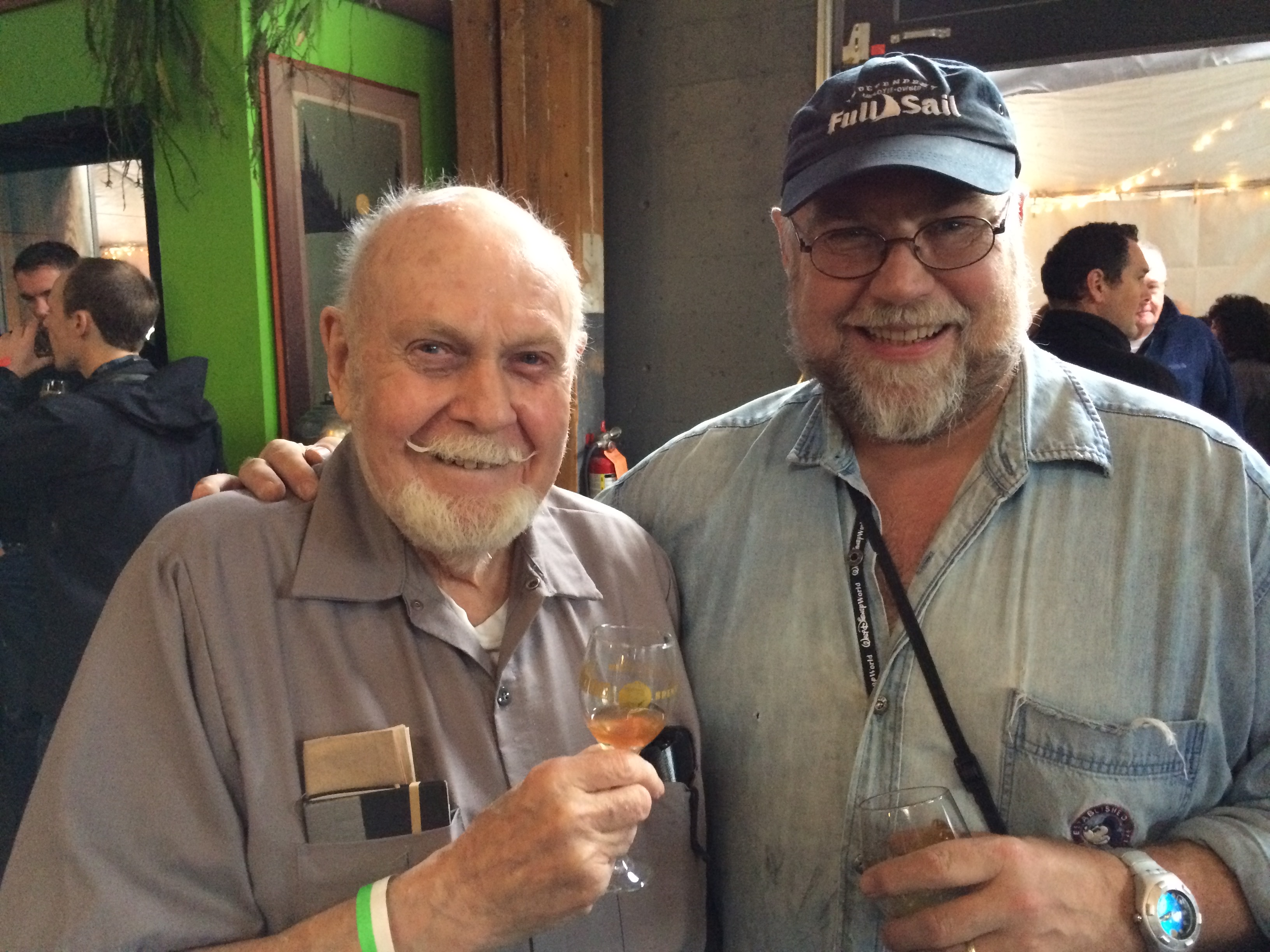 The late Fred Eckhardt and John Foyston at Hair of the Dog Brewing's 20th Anniversary in November 2013.