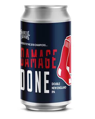 image of Samuel Adams Damage Done Double IPA in honor of the 2018 World Champion Boston Red Sox courtesy of Boston Beer Co.