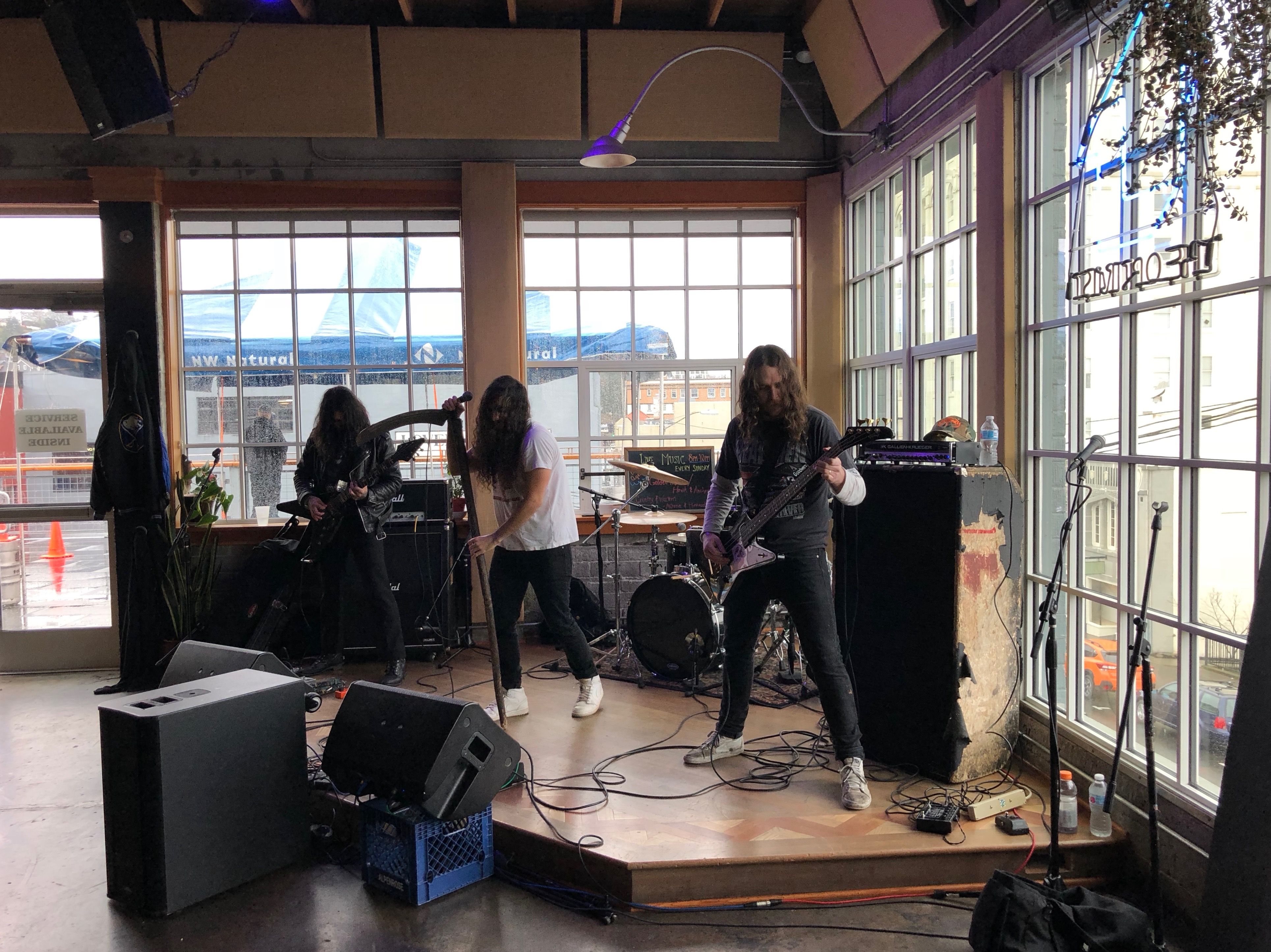 A metal band performs during the 2018 Festival of Dark Arts at Fort George Brewery.