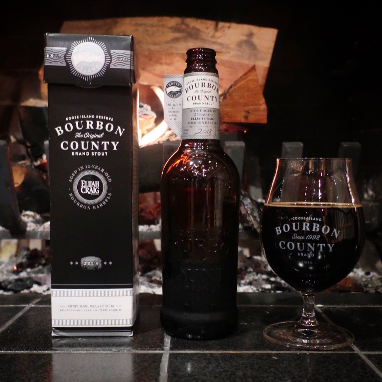 A snifter pour of Goose Island 2018 Reserve Bourbon County Brand Stout.