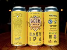 Beer Church Hazy IPA is a collaboration beer from Airways Brewing, Georgetown Brewing, and Two Beers Brewing Co. (image courtesy of Two Beers Brewing)