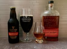 Guinness Stout Aged in Bulleit Bourbon Barrels alongside a glass of Bulleit Bourbon.