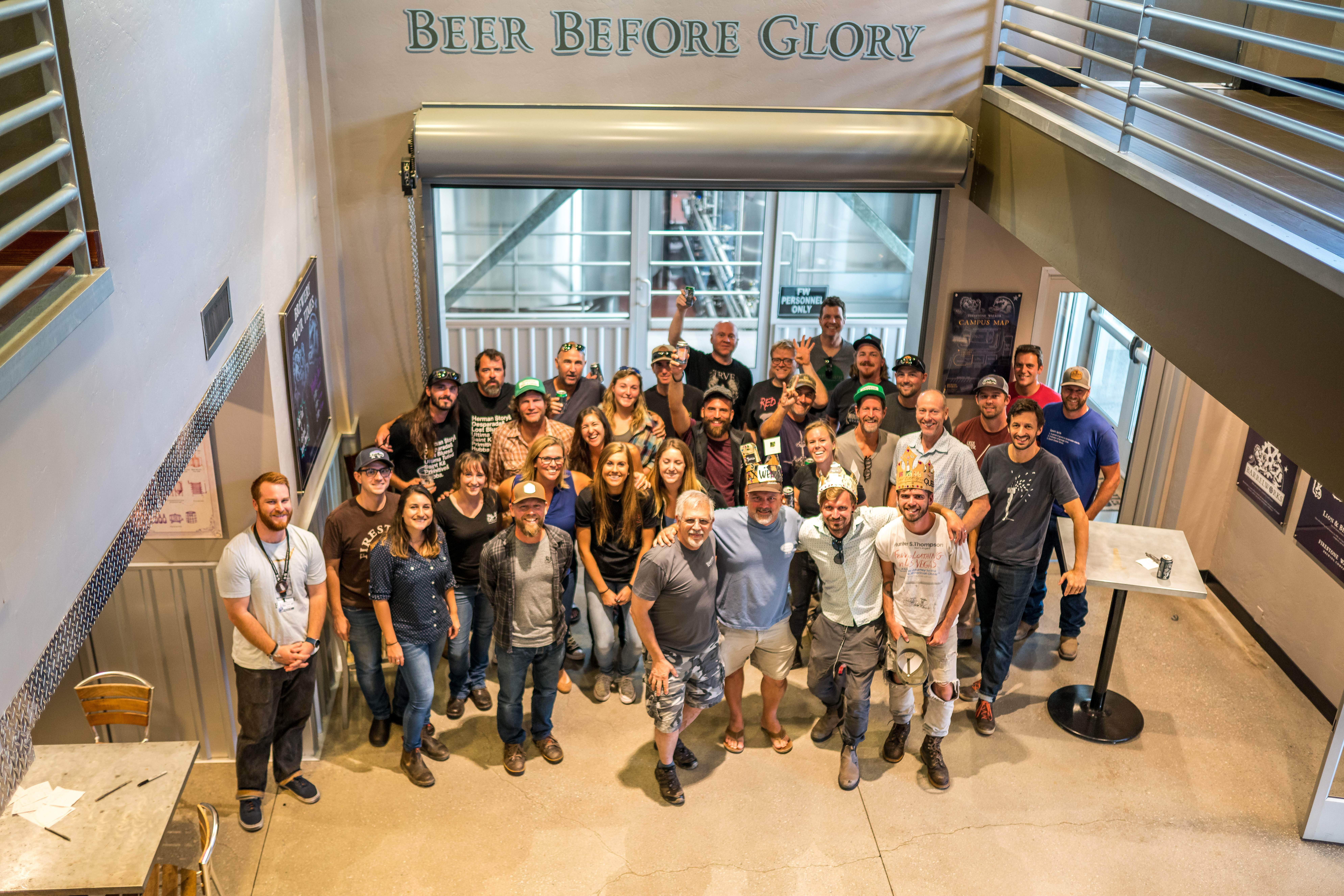 The Firestone Brewing XXII Anniversary Ale blending crew. (image courtesy of Firestone Walker Brewing)