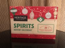 The front of the Heritage Distilling 2018 Spirits Advent Calendar that has 24 windows of booze!