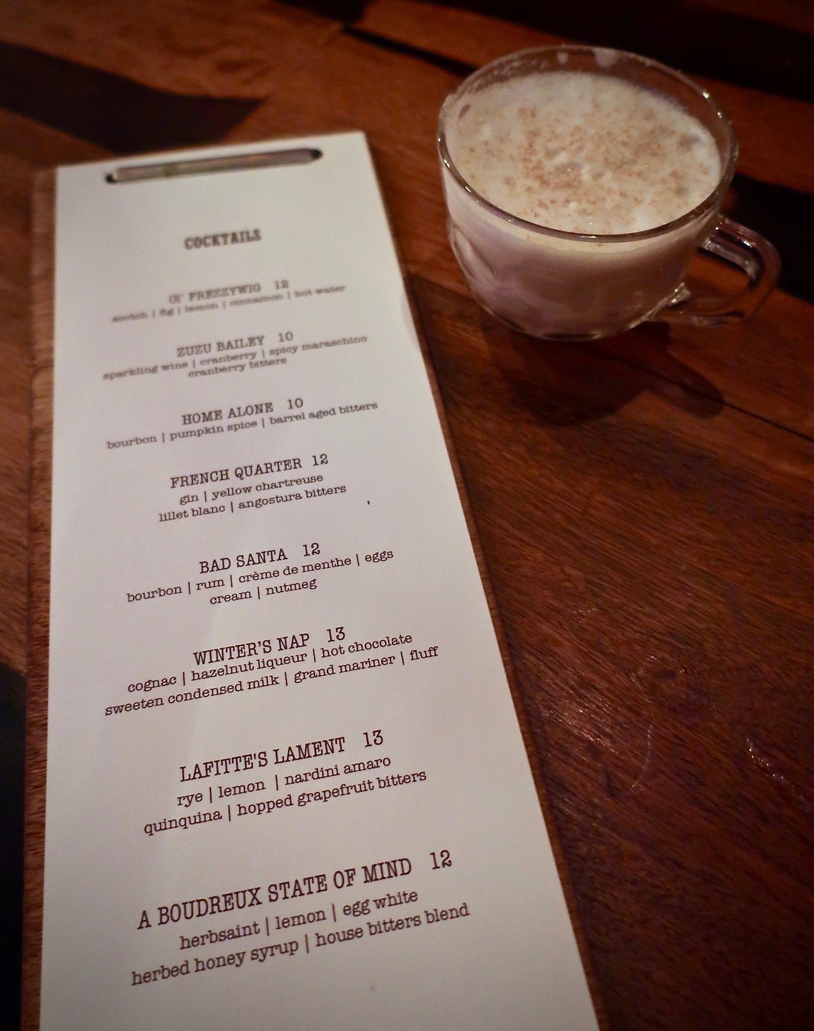 The holiday themed cocktail menu at NorthWest Pole on the second floor of The Waiting Room.