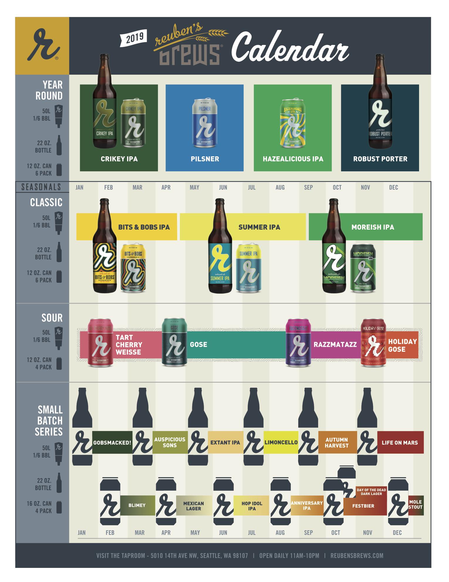 2019 Reuben's Brews Beer Release Calendar