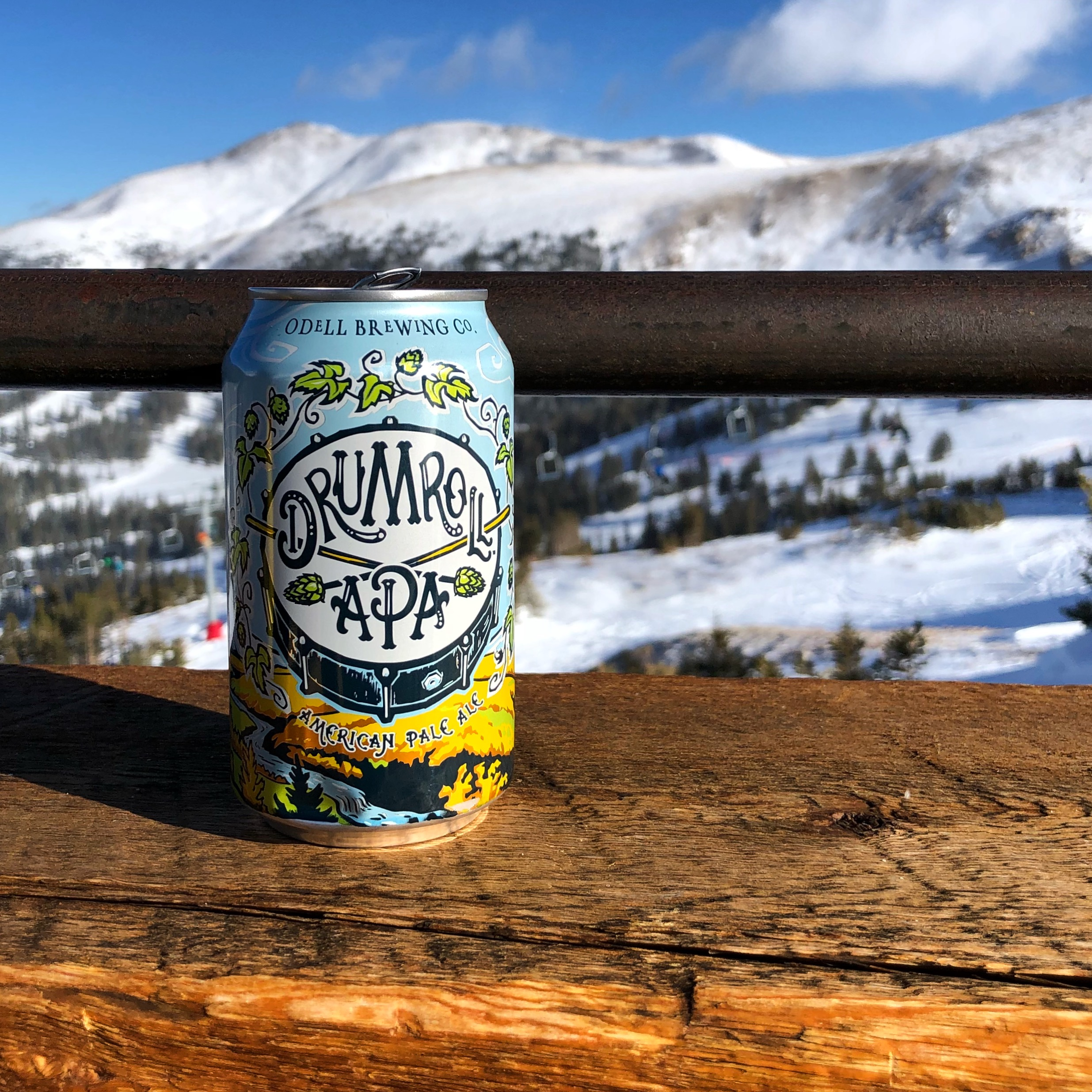A carb refuling break with Odell Brewing Drumroll APA while hitting the slopes during the Big Beers, Belgians & Barleywines Festival.
