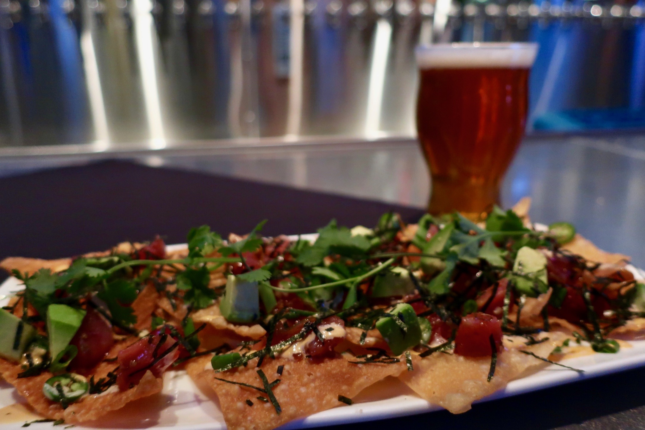 A highly recommended appetizer at Yard House is the Poke Nachos! Pairs nicely with Liquid Compass Double IPA.