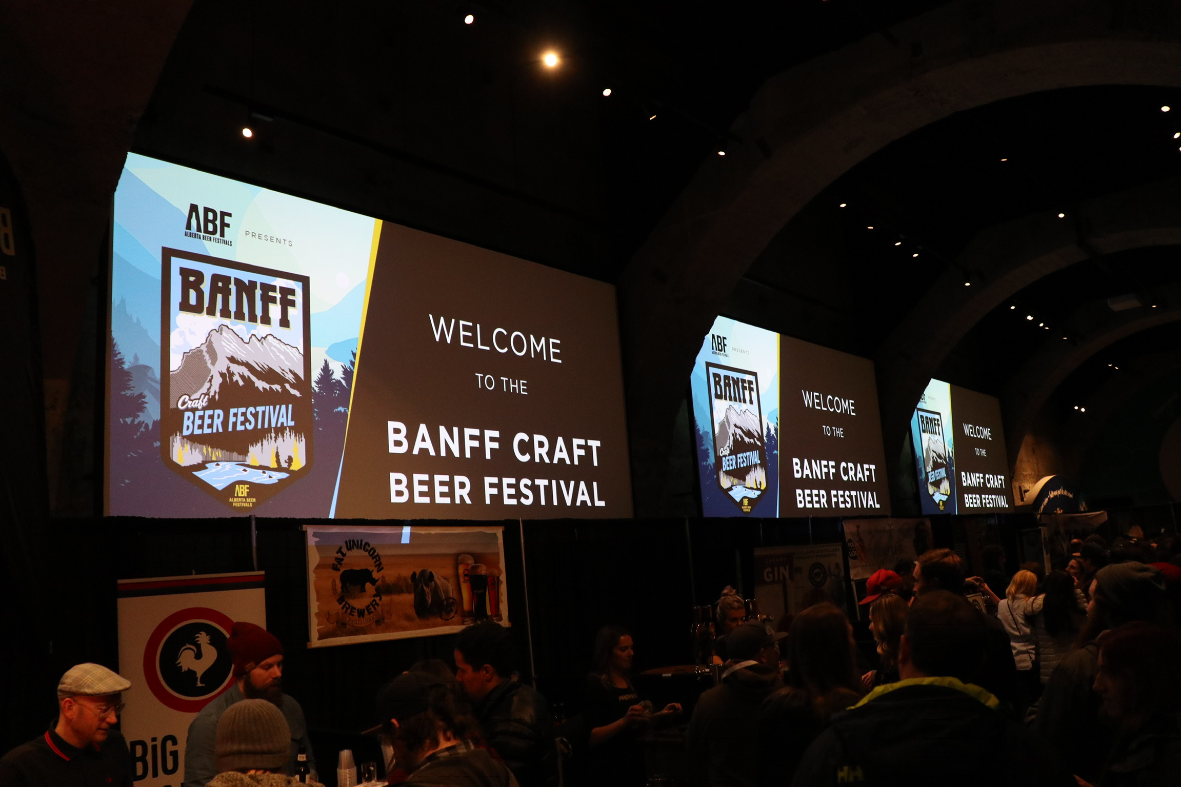 As the evening progressed during the Banff Craft Beer Festival.