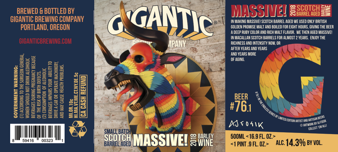 Gigantic Brewing MASSIVE! 2018 Small Batch Scotch Barrel Aged Barley Wine