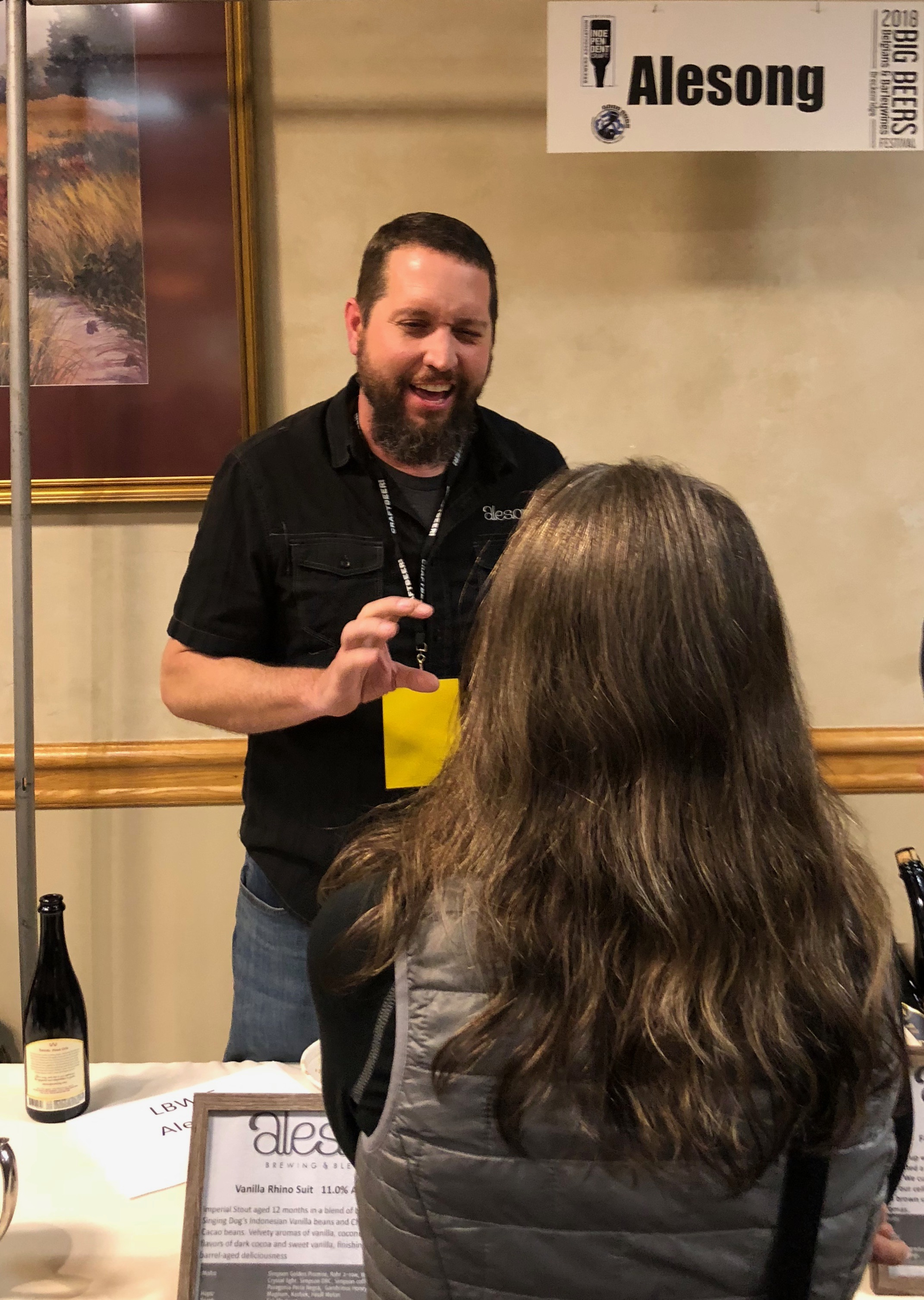 Matt Van Wyk from Alesong Brewing & Blending tasting Julia Herz from the Brewers Association through his beers at the 2018 Big Beers, Belgians & Barleywines Festival.