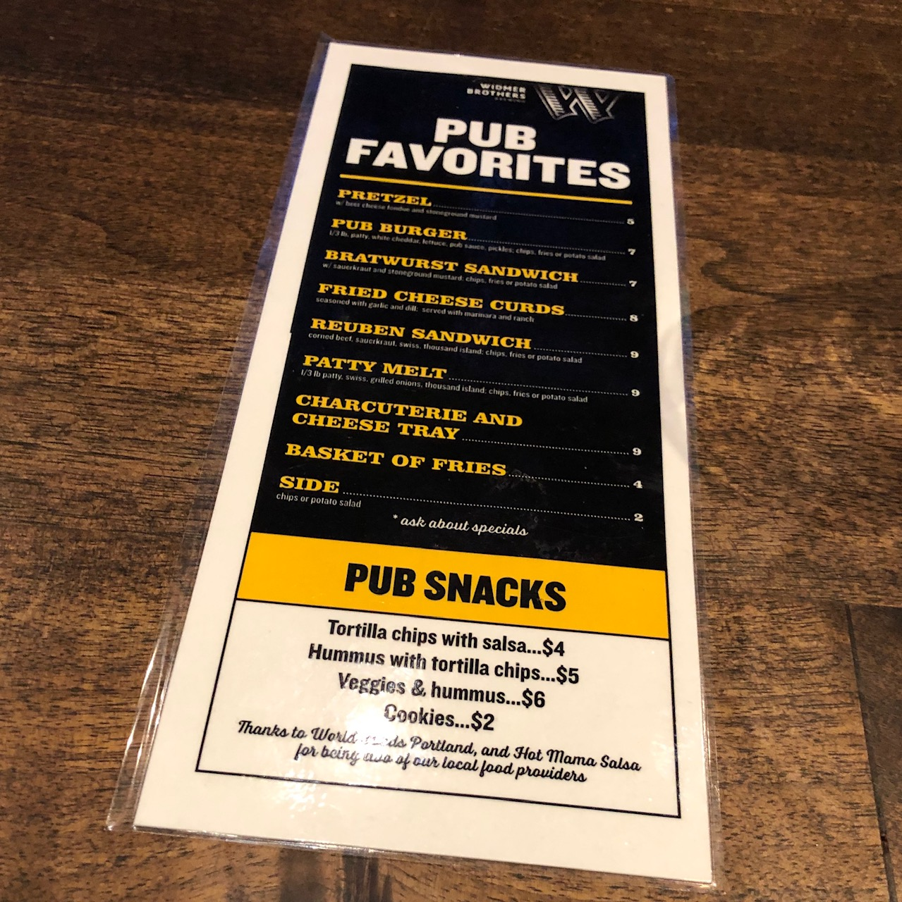 New food items on the Pub Menu at Widmer Brothers Pub.