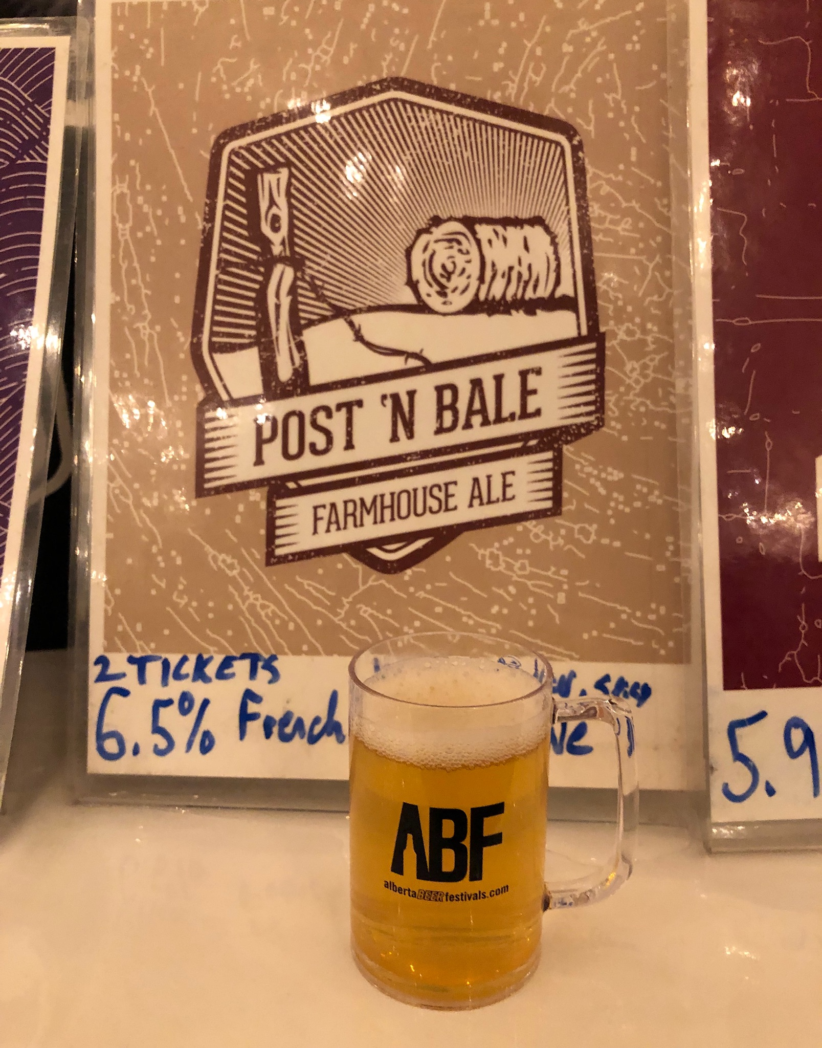 Post 'N' Bale Farmhouse Ale at the Banff Craft Beer Festival.
