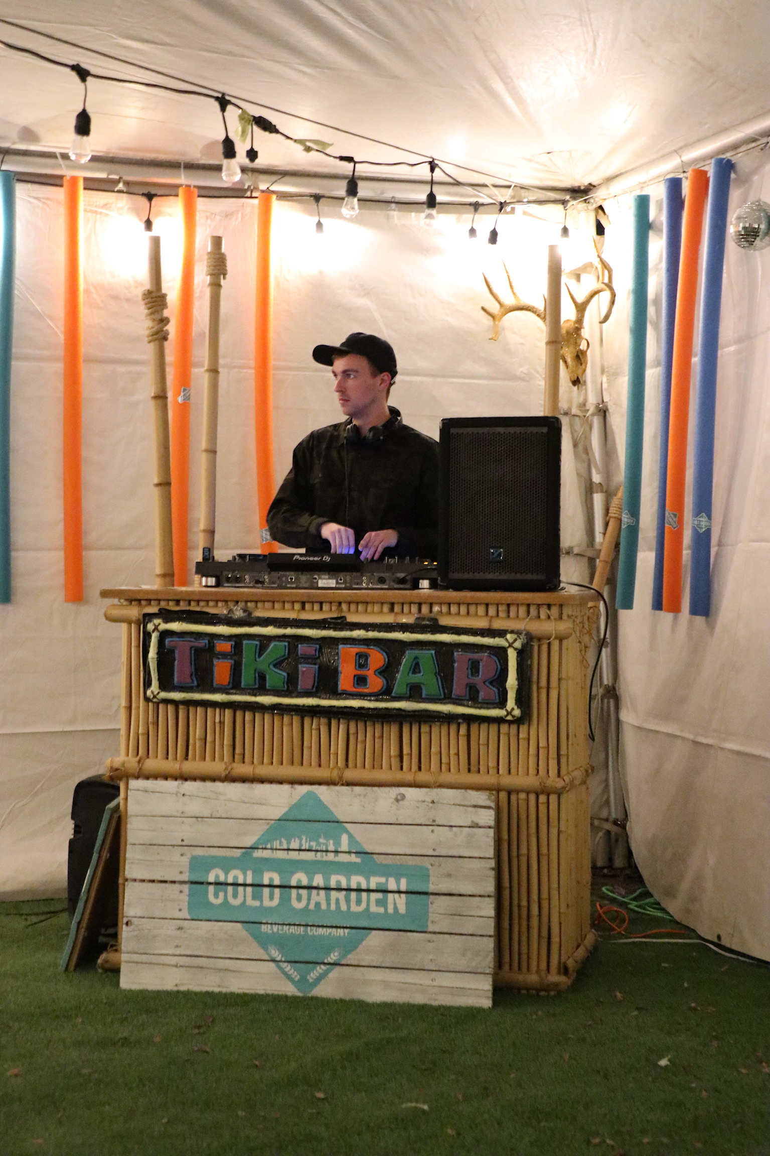 The DJ in the TIki Bar at the Banff Craft Beer Festival.