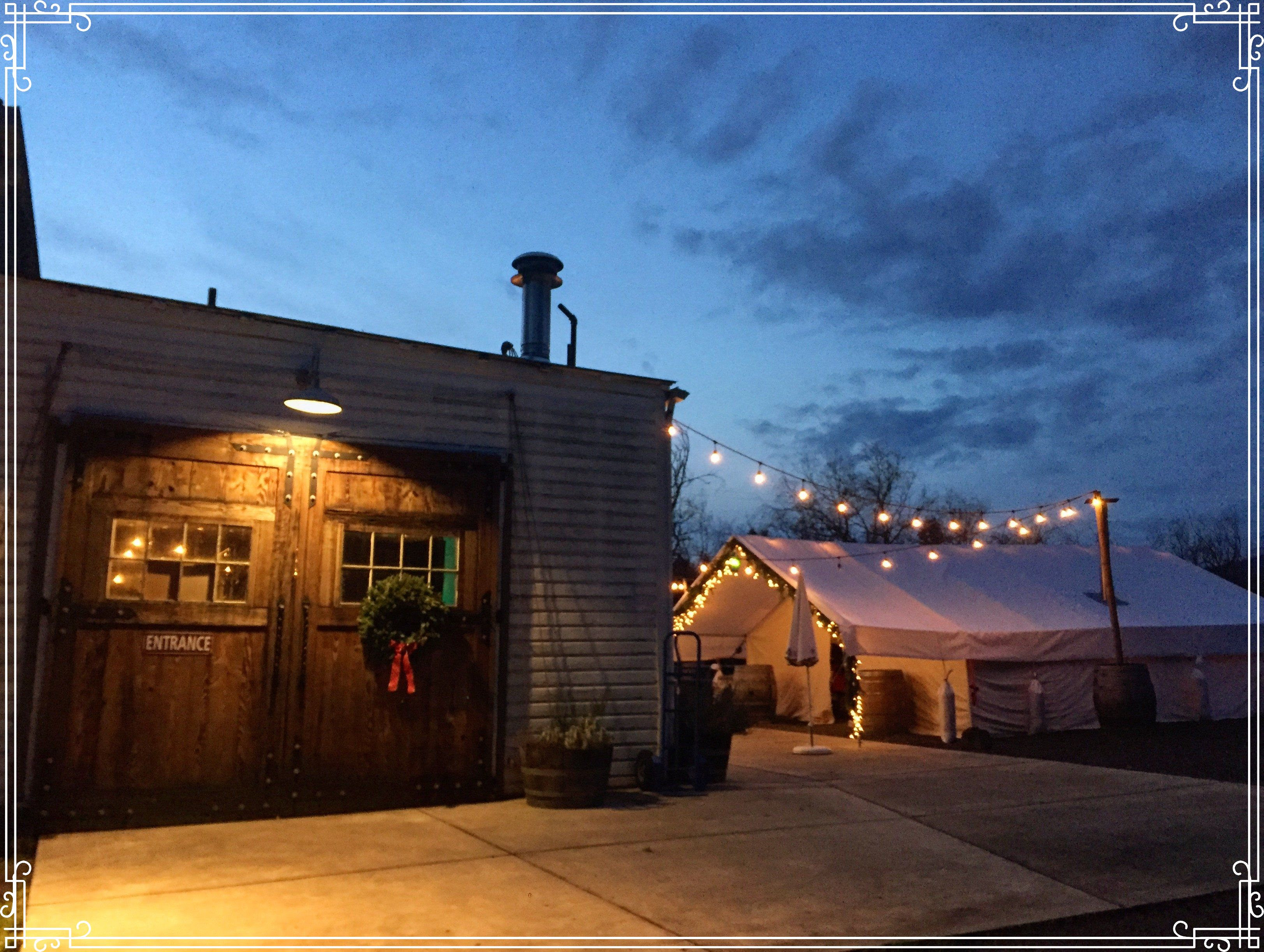The festive decorations and outdoor tent at Wolves & People Farmhouse Brewery in Newberg, Oregon. (image courtesy Wolves & People Farmhouse Brewery)