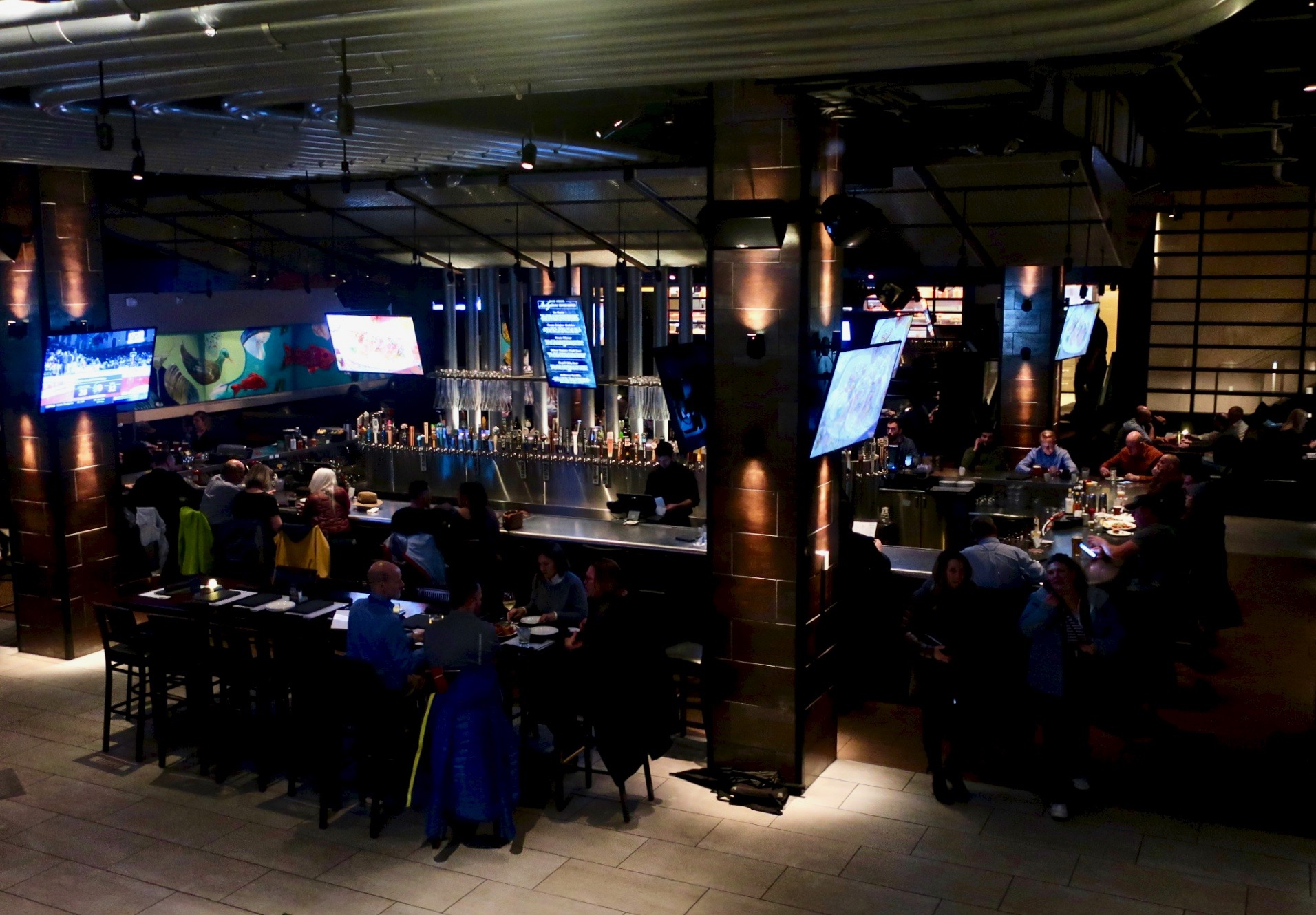 The massive rectangular bar at Yard House in downtown Portland.