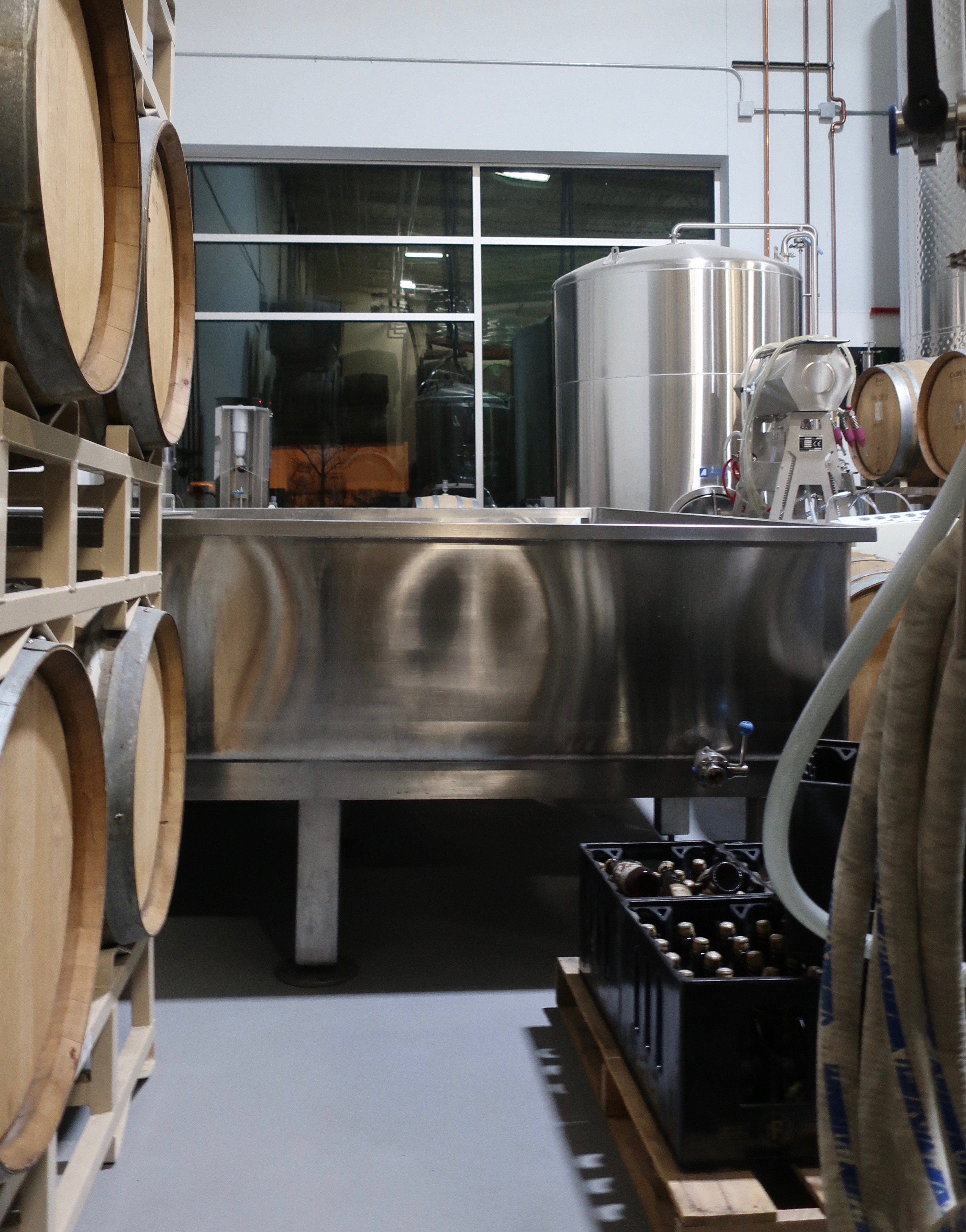 A view of the newly installed coolship at pFriem Family Brewers.