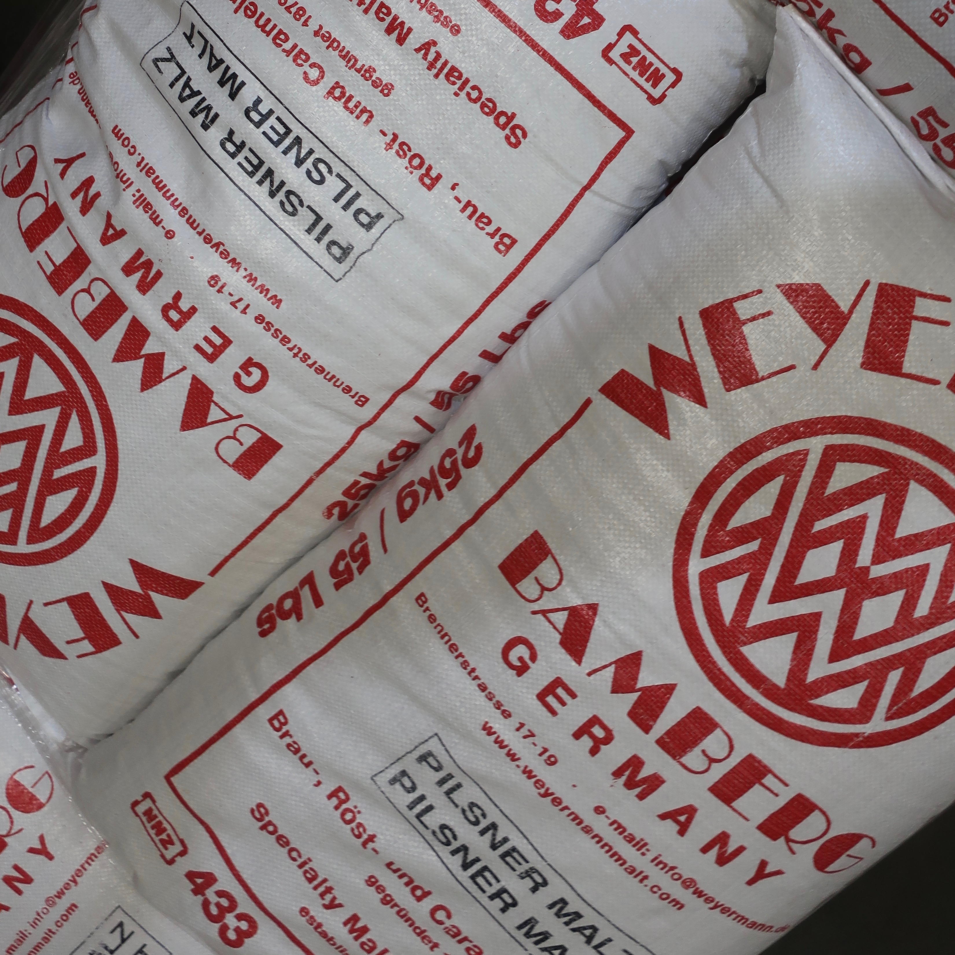 Bags of pilsner malt at pFriem Family Brewers.