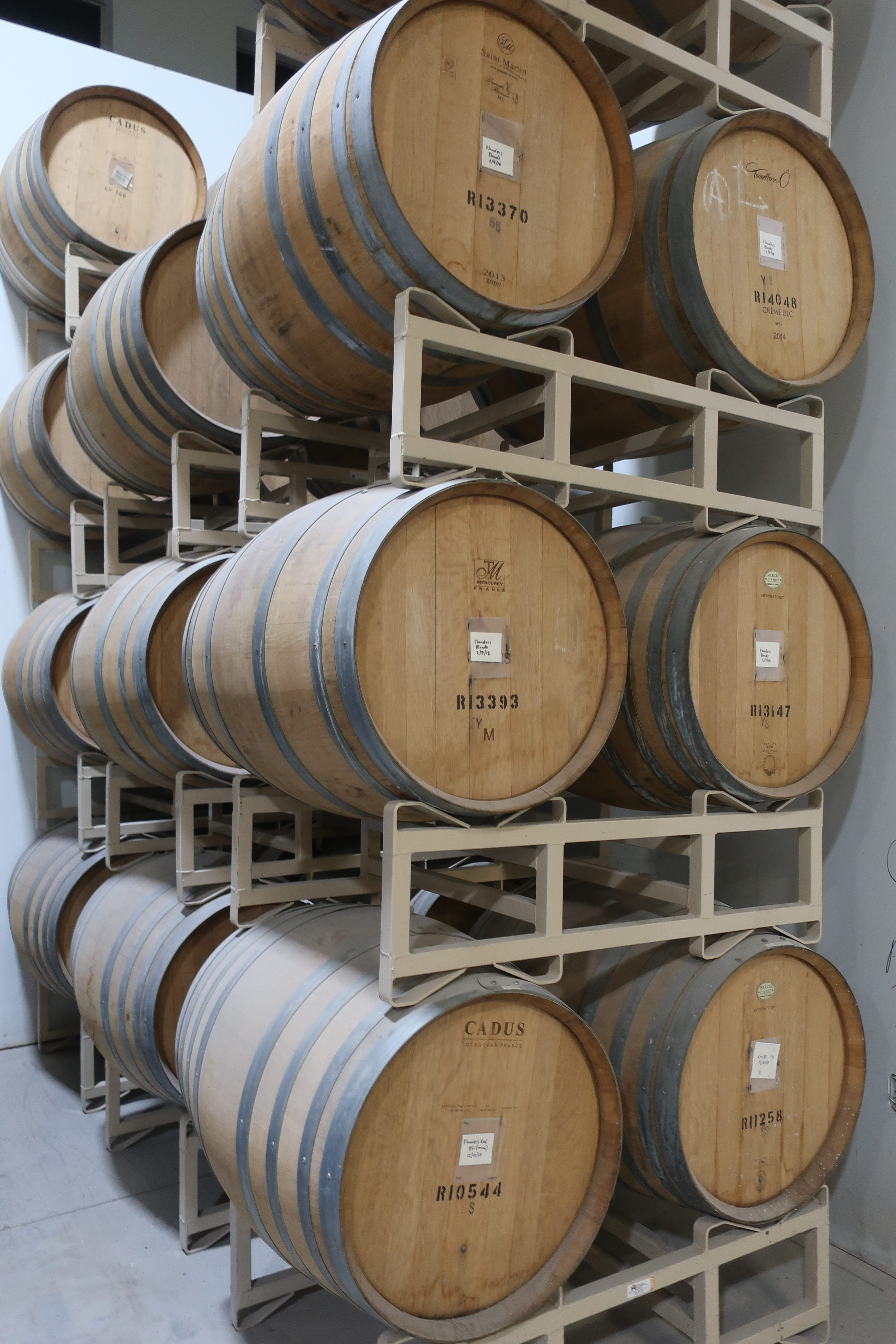 Barrels are stacke in varioius locations throughout the brewery at pFriem Family Brewers. There are also additional barrels aging at an offsite location.