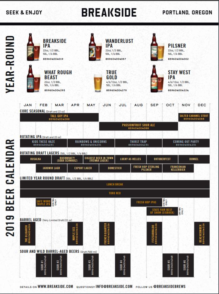 Breakside Brewery 2019 Beer Release Calendar