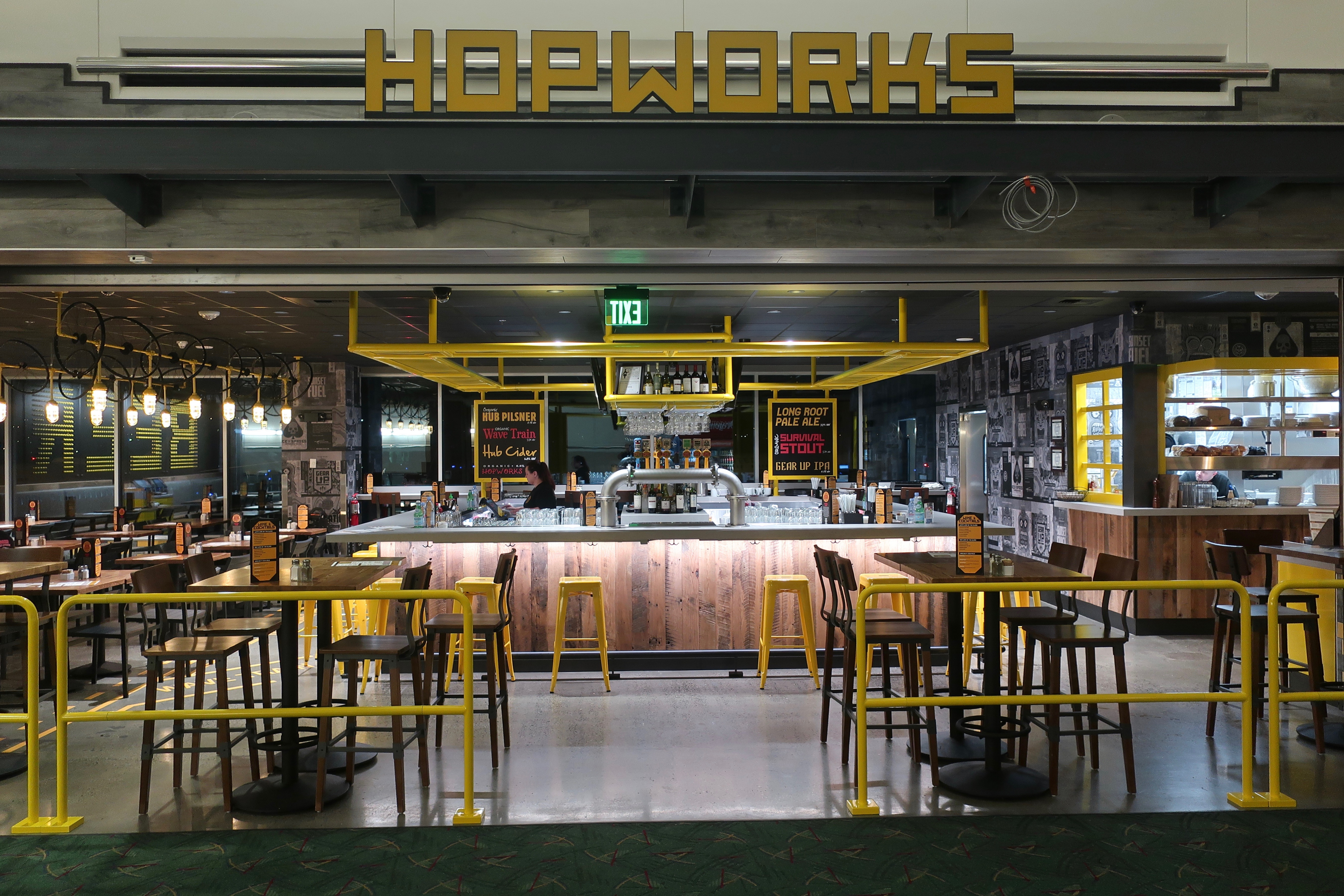 Hopworks Urban Brewery in Concourse E at the Portland International Airport.