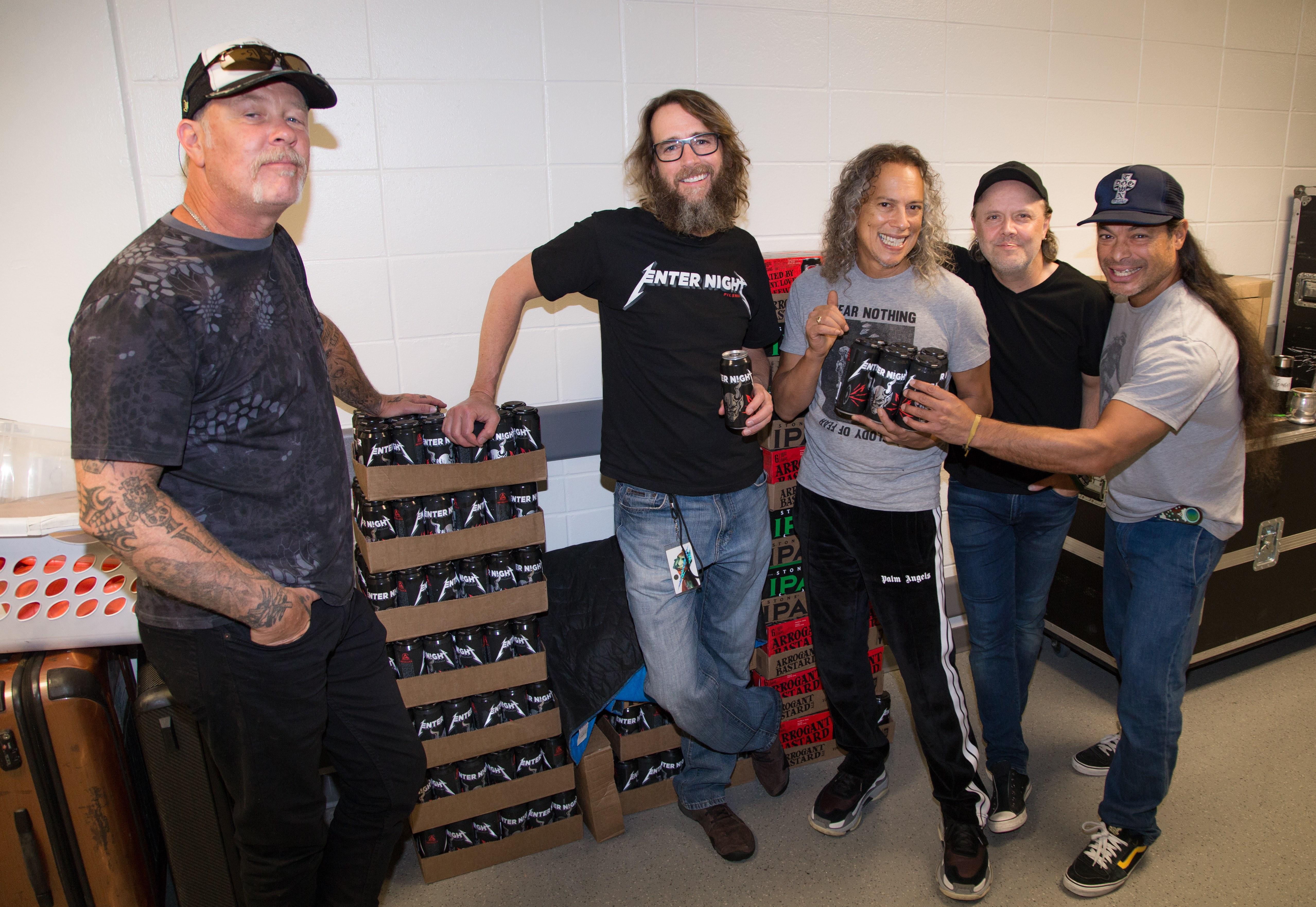James Hetfield, Metallica lead vocalist; Greg Koch, Stone Brewing co-founder; Kirk Hammett, Metallica lead guitarist; Lars Ulrich, Metallica drummer; Robert Trujillo, Metallica basist. (image courtesy of Stone Brewing)